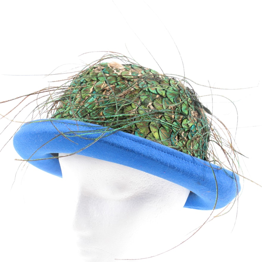 Oscar de la Renta Peacock Feather Hat   EBTH 3e3a83fe56a