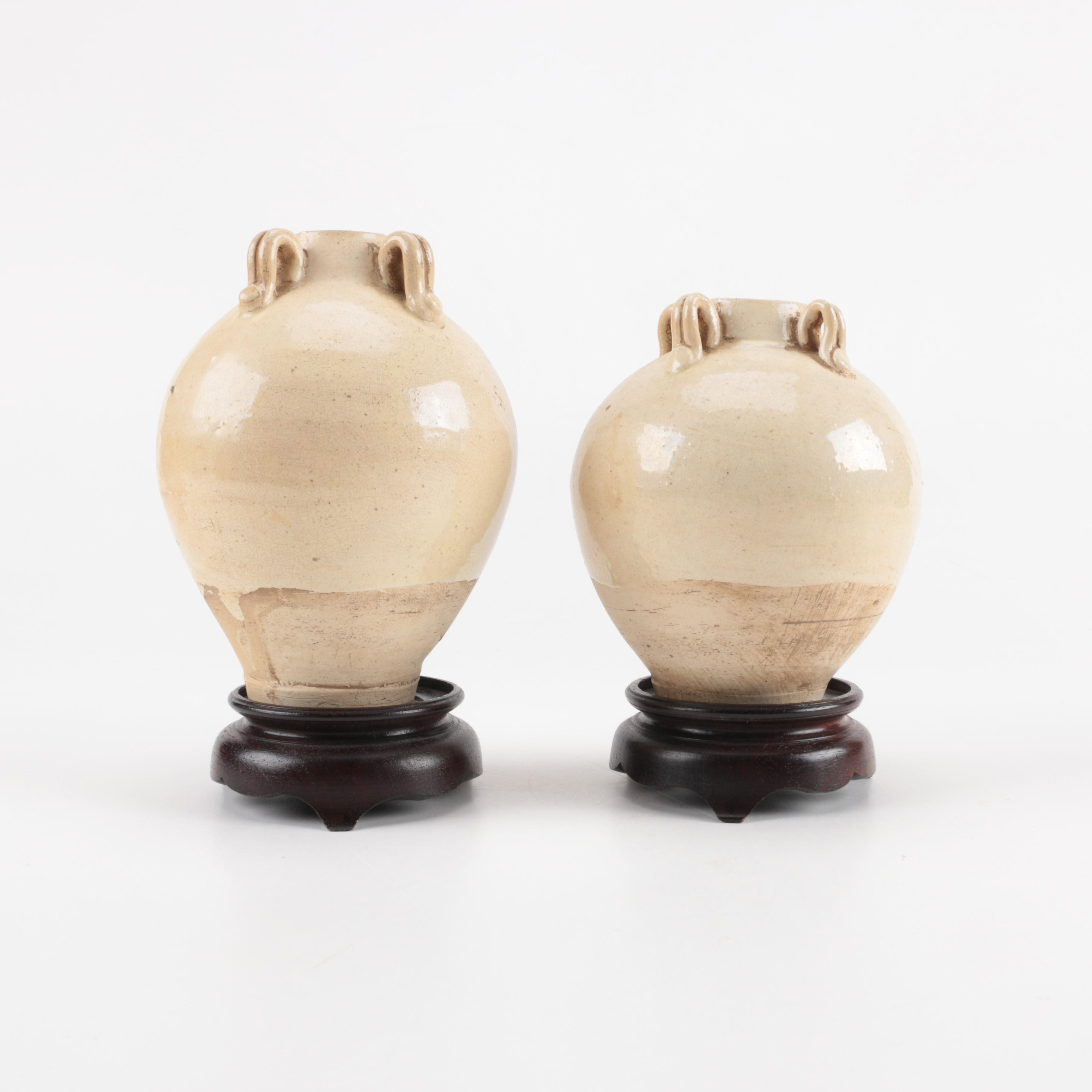 Vintage Chinese Rotund Urn Vases on Wooden Stands