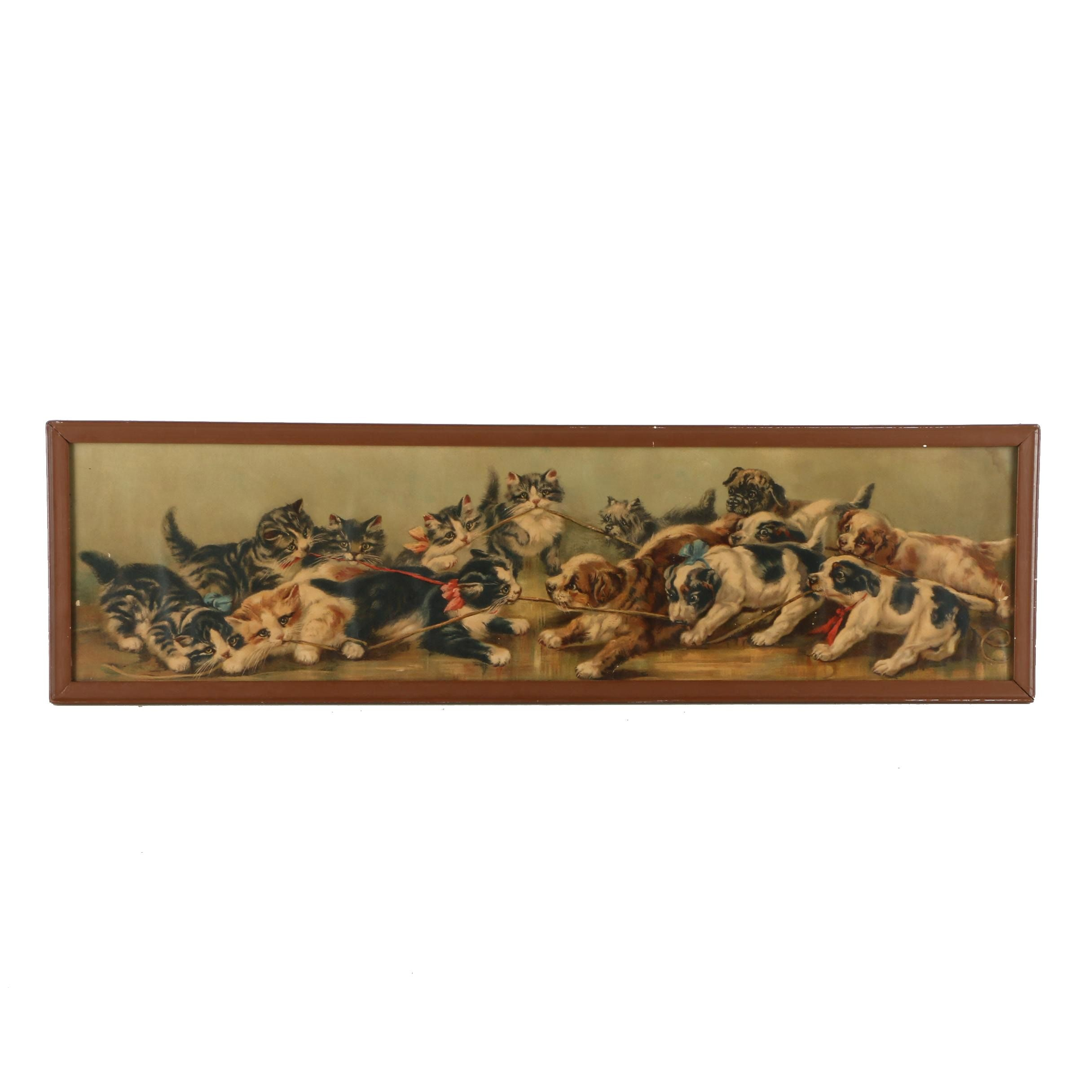 Antique Chromolithograph on Paper of Kittens and Puppies Playing Tug of War