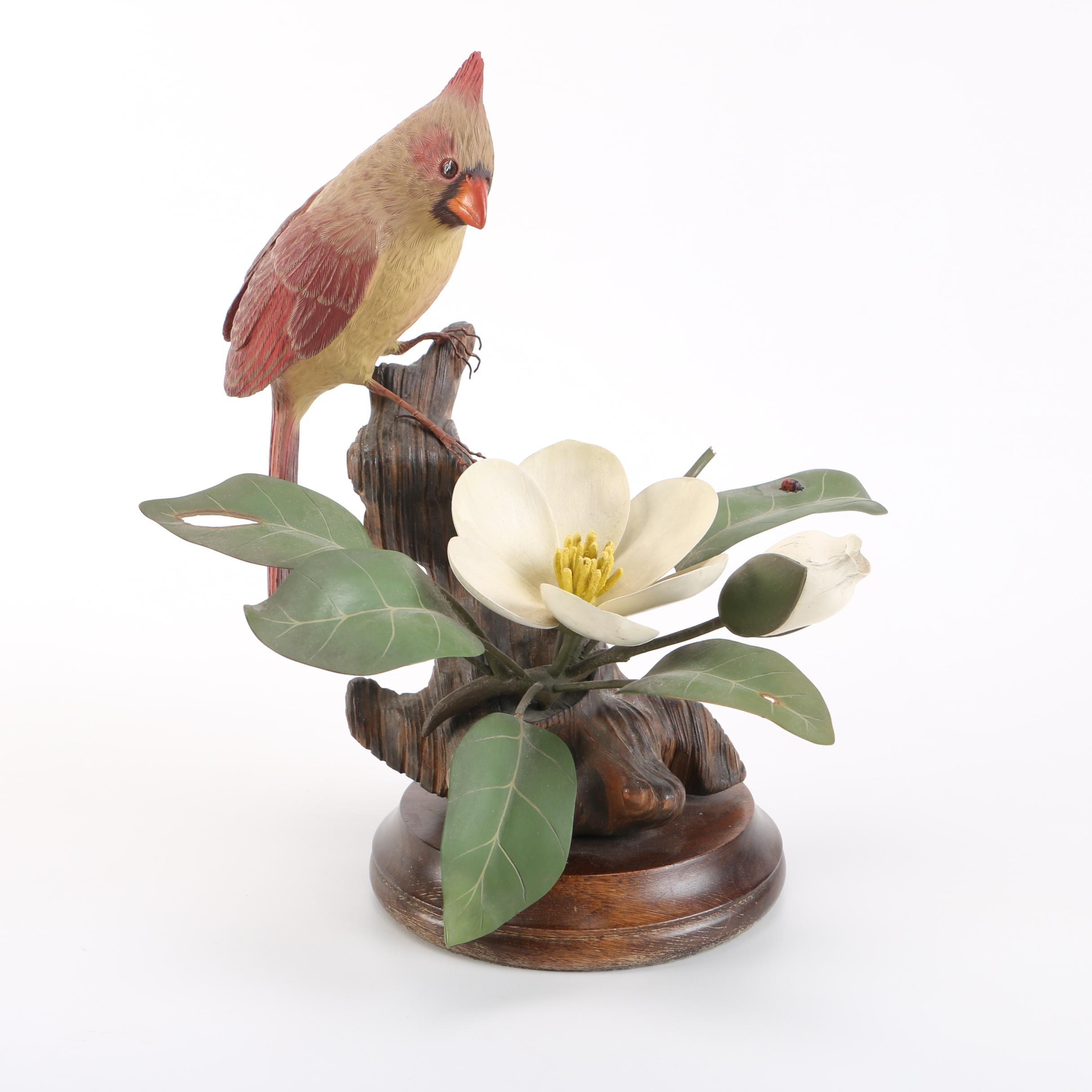 House of Goebel Cardinal Bird Figurine on Floral Motif Base