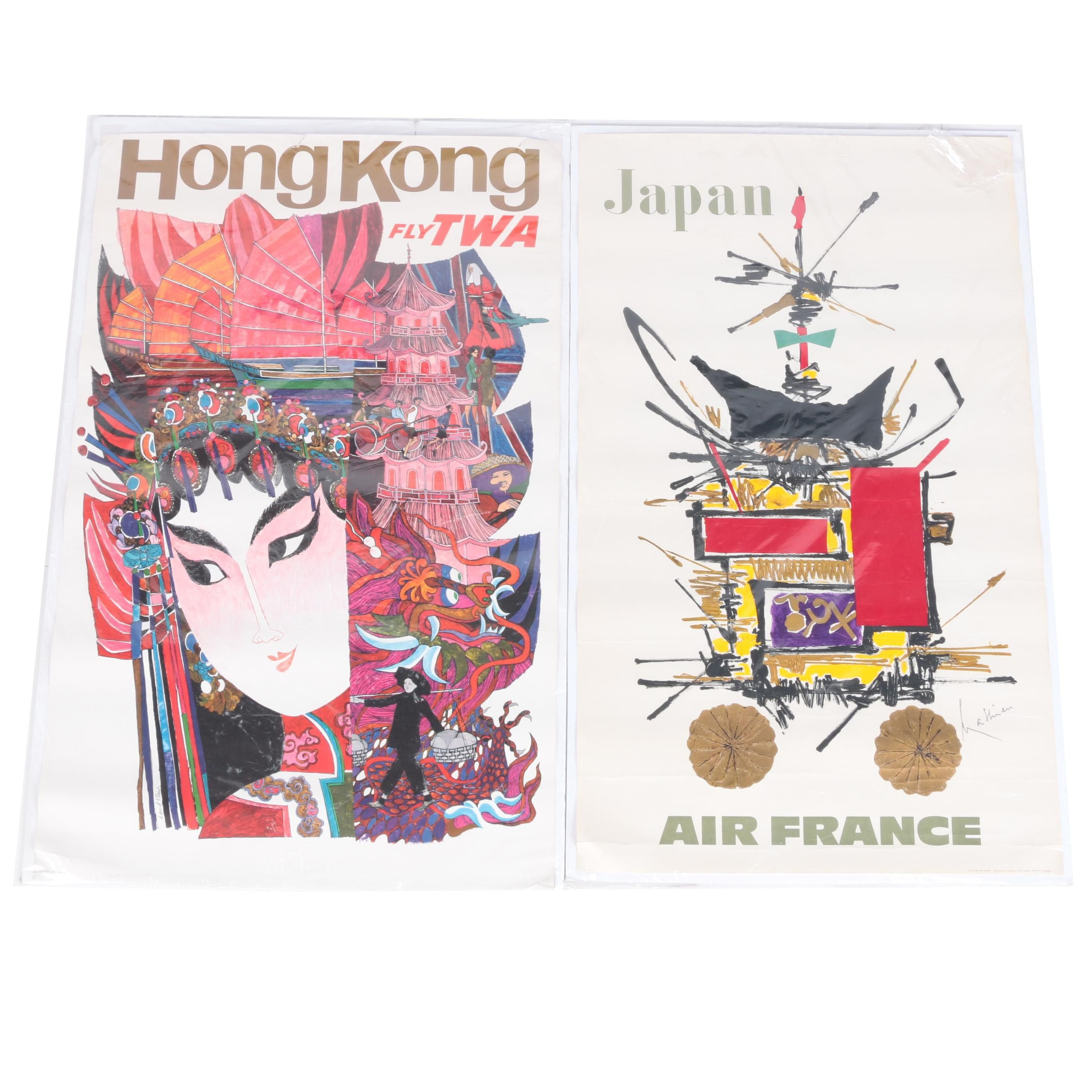 Trans World Airlines and Air France Travel Posters