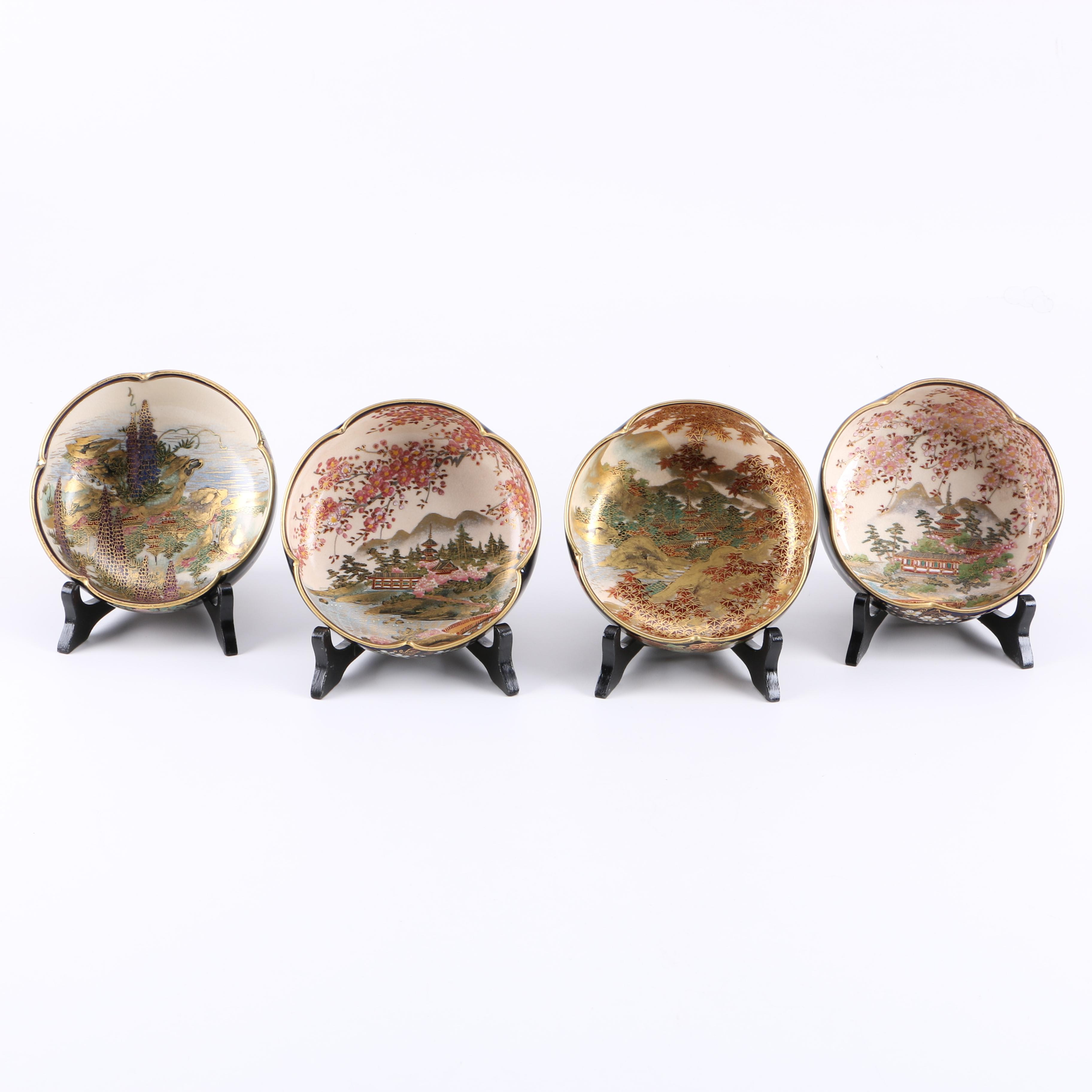 Set of Vintage Hand Painted Japanese Porcelain Bowls with Stands