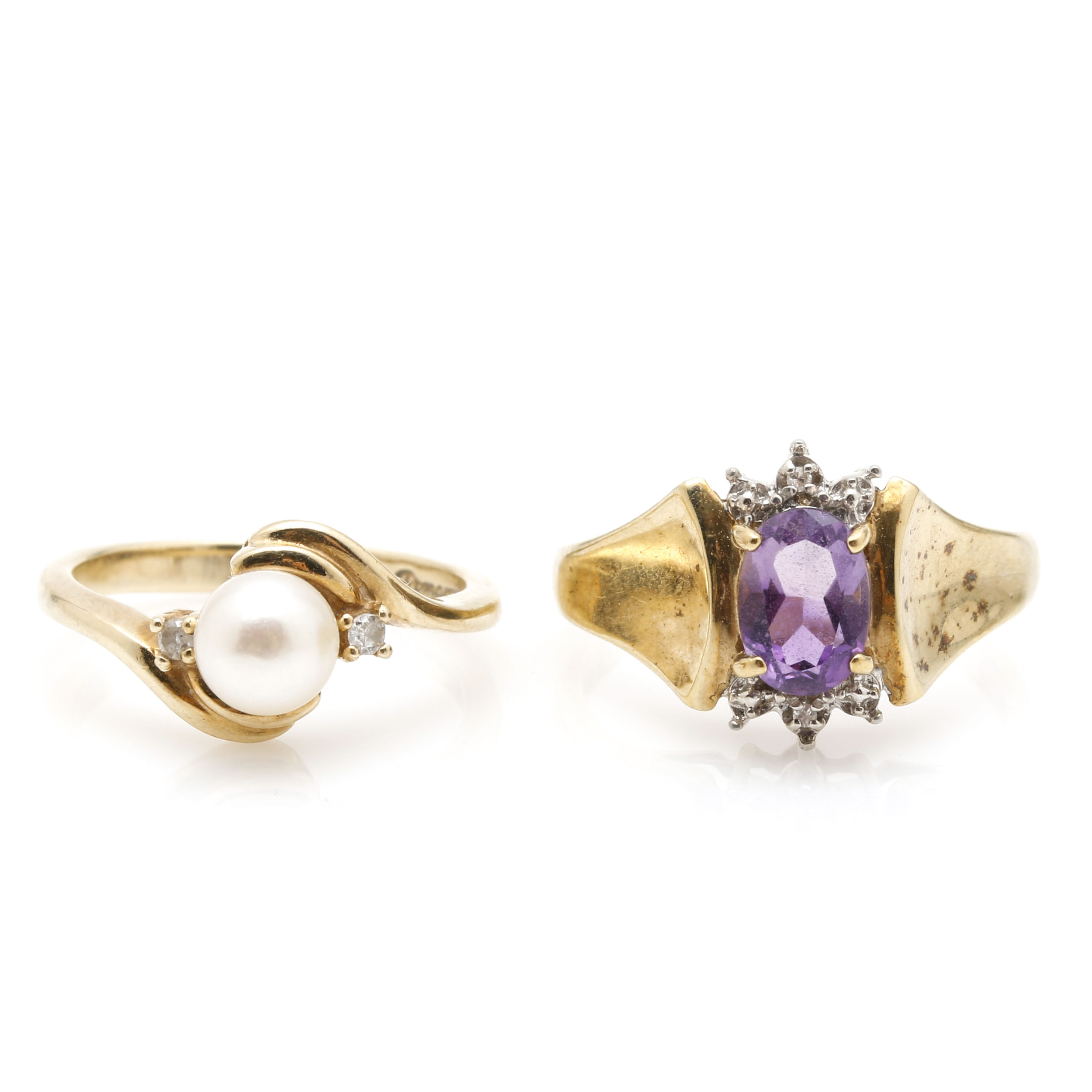 Pair of 10K Yellow Gold Rings Featuring Diamonds, Amethyst, and Cultured Pearl