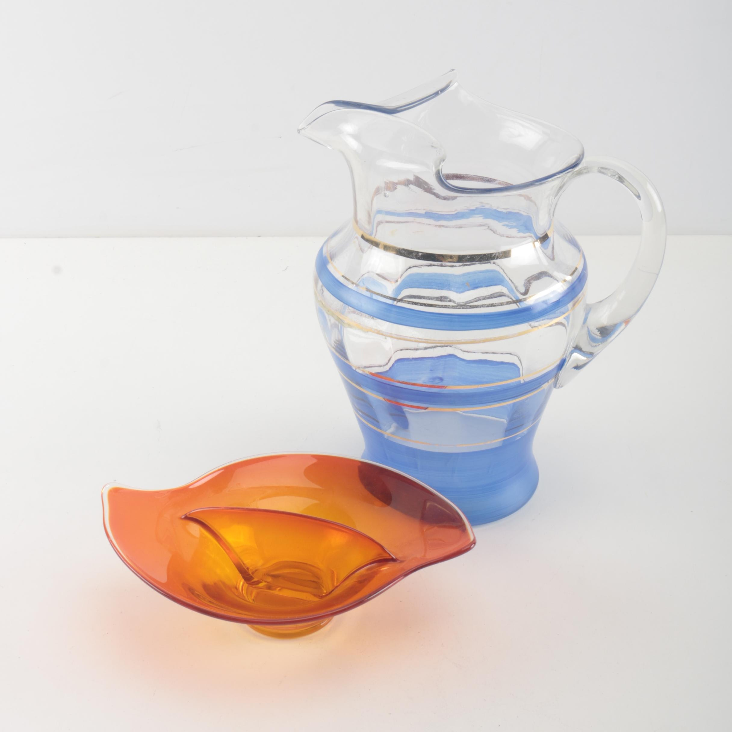 Striped Glass Pitcher and Red Dish