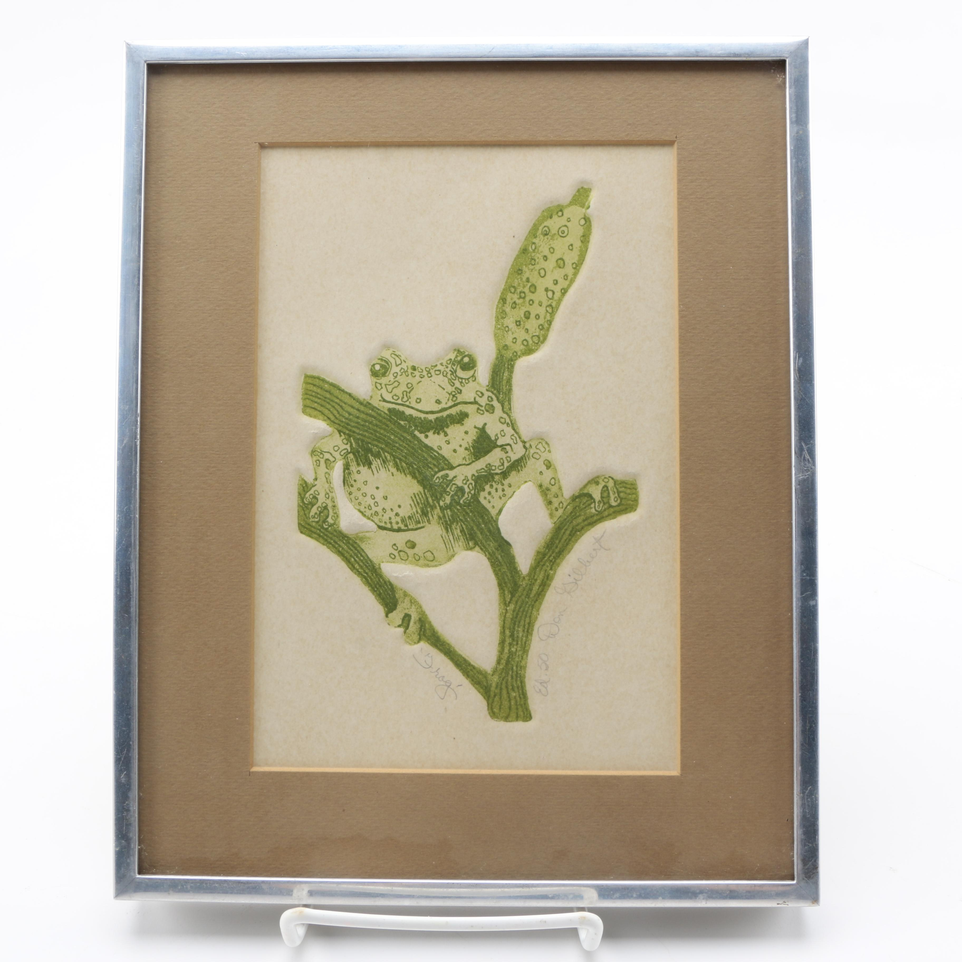 "Don Gilbert Limited Edition Etching With Aquatint on Paper ""Frog"""