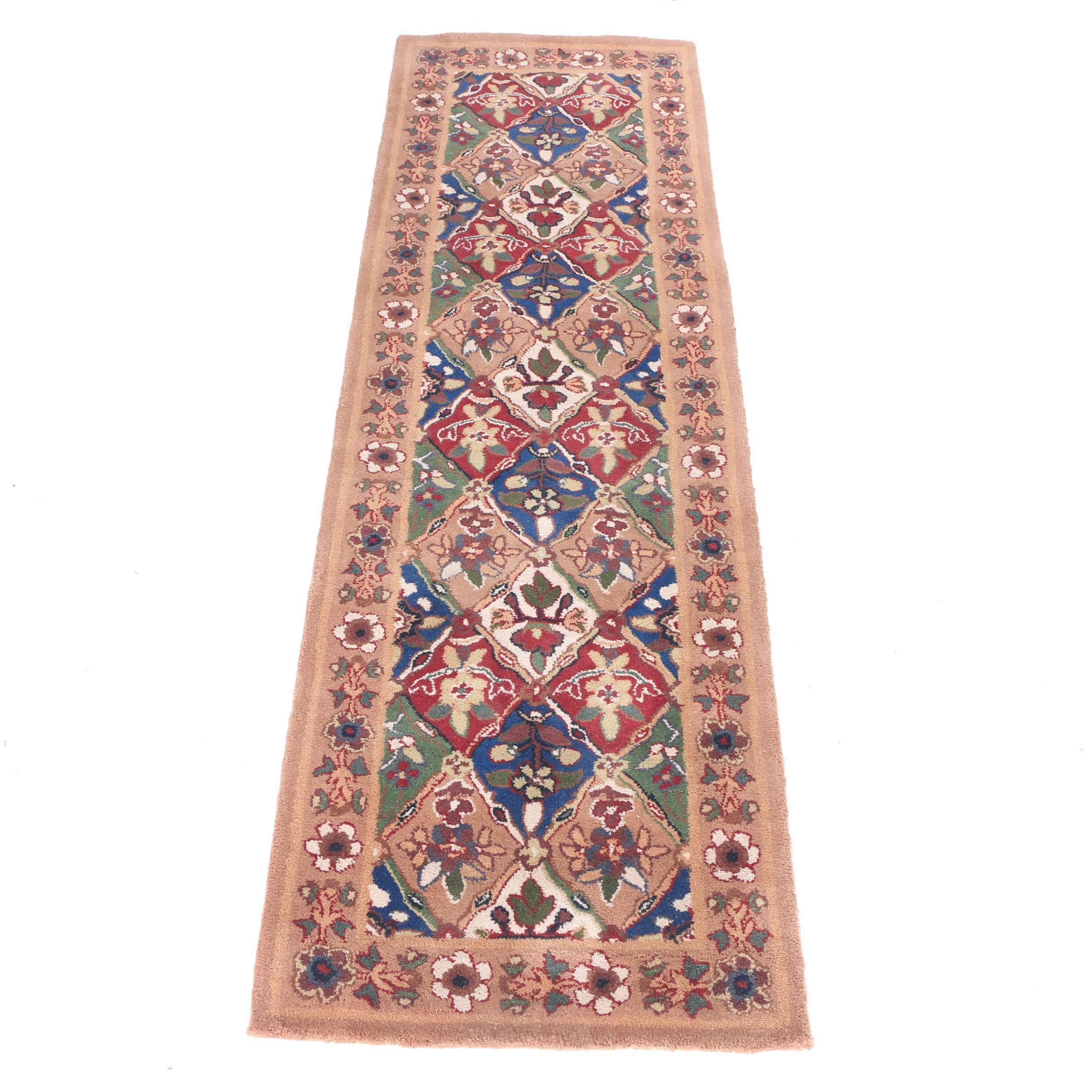 """Hand-Tufted """"Panel Kirman"""" Carpet Runner"""