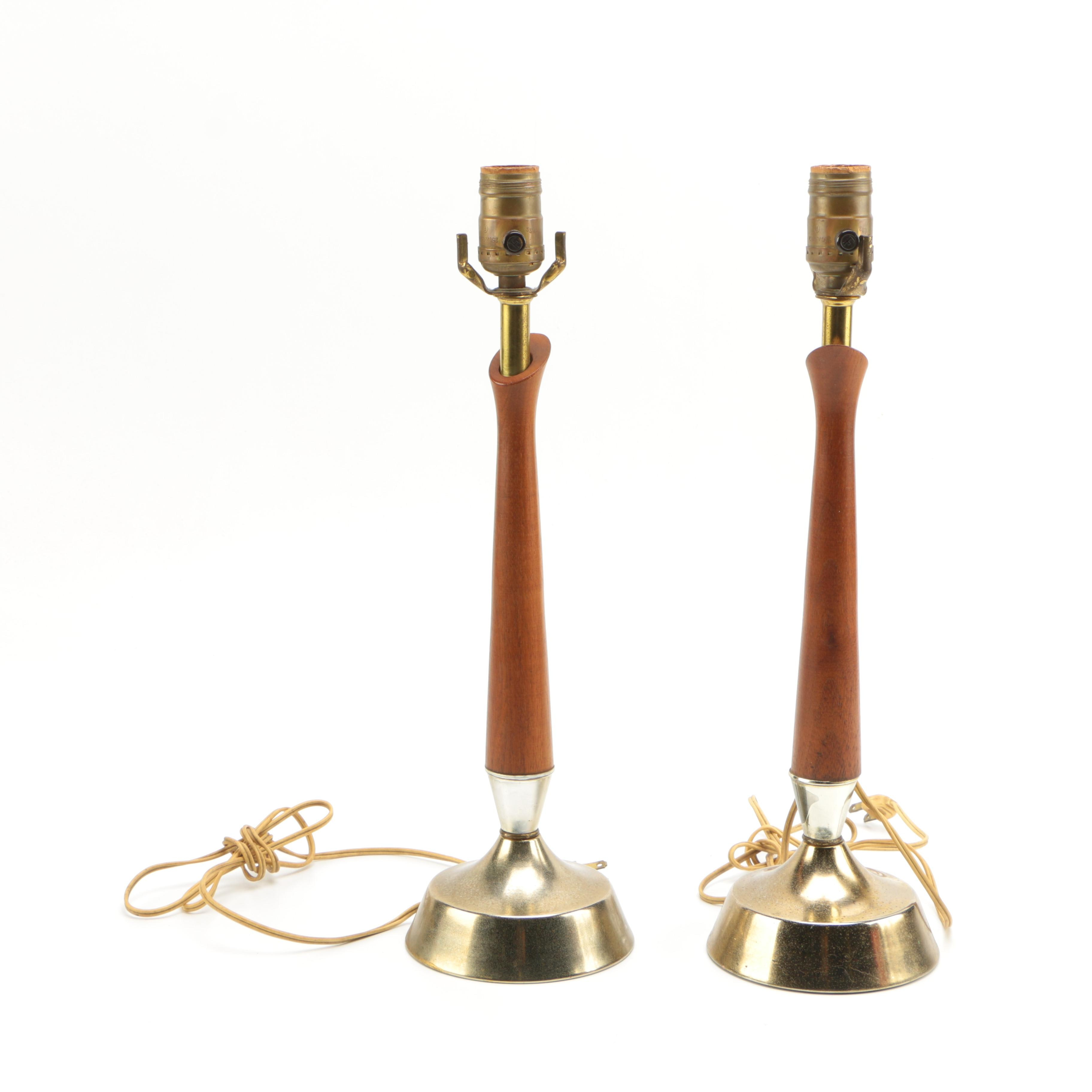Mid Century Modern Brass and Wood Lamps