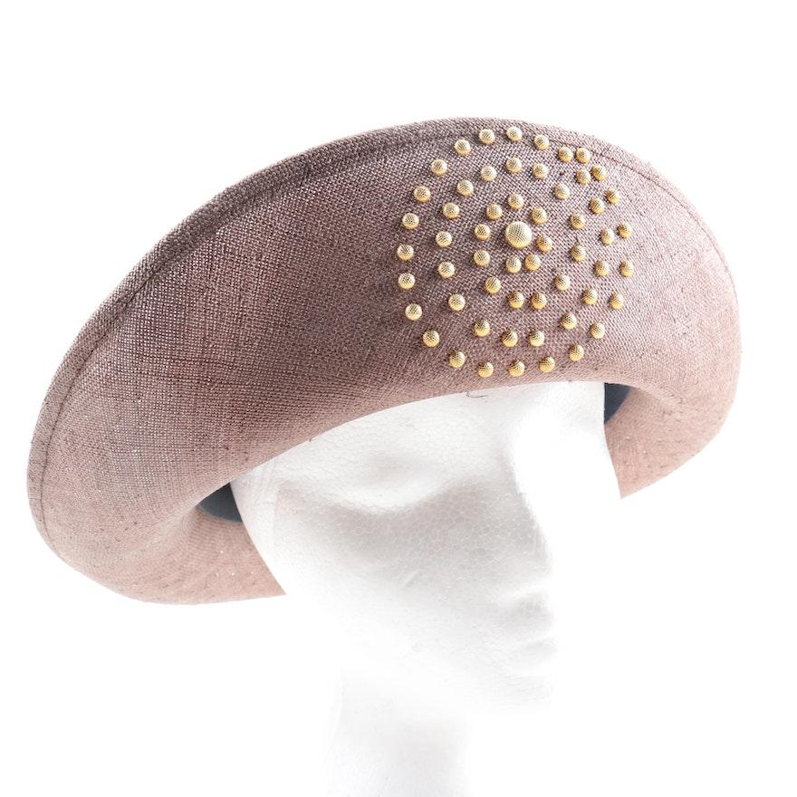Oscar de la Renta Starched Straw Hat