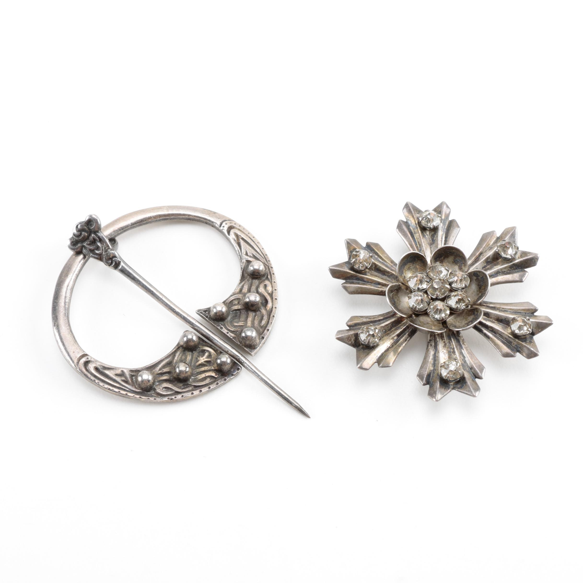 Vintage Sterling Silver Brooches