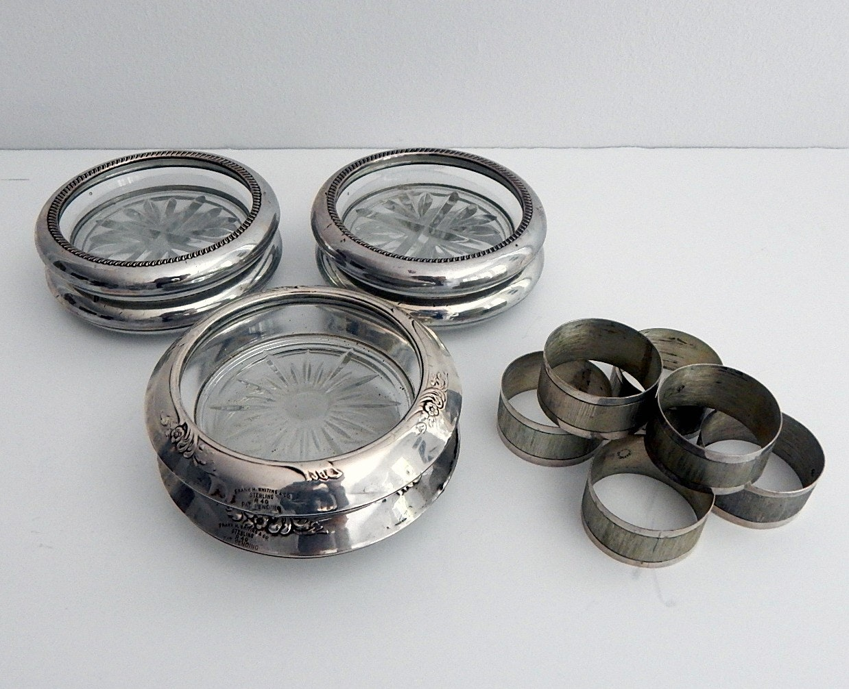 Sterling Silver Coasters and Napkin Rings