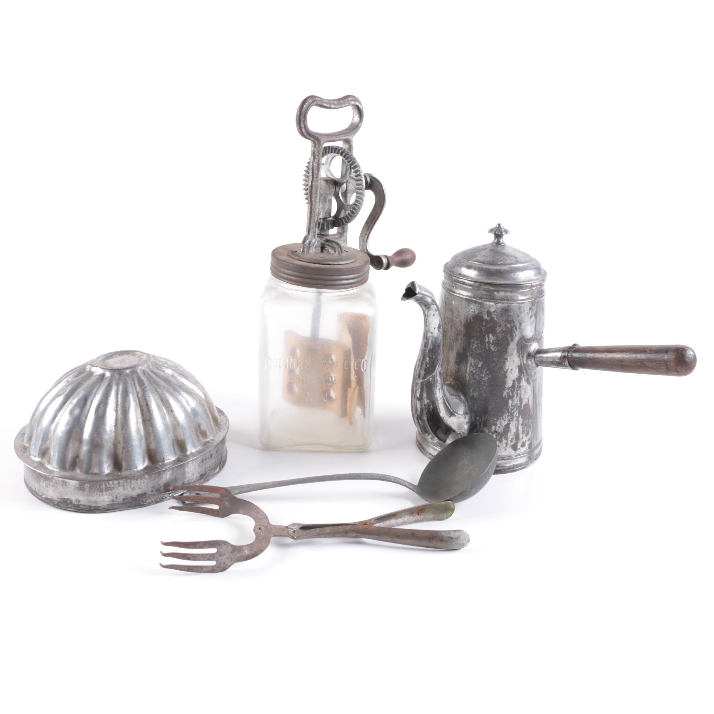 Vintage Kitchenalia Including Soviet Era Aluminium