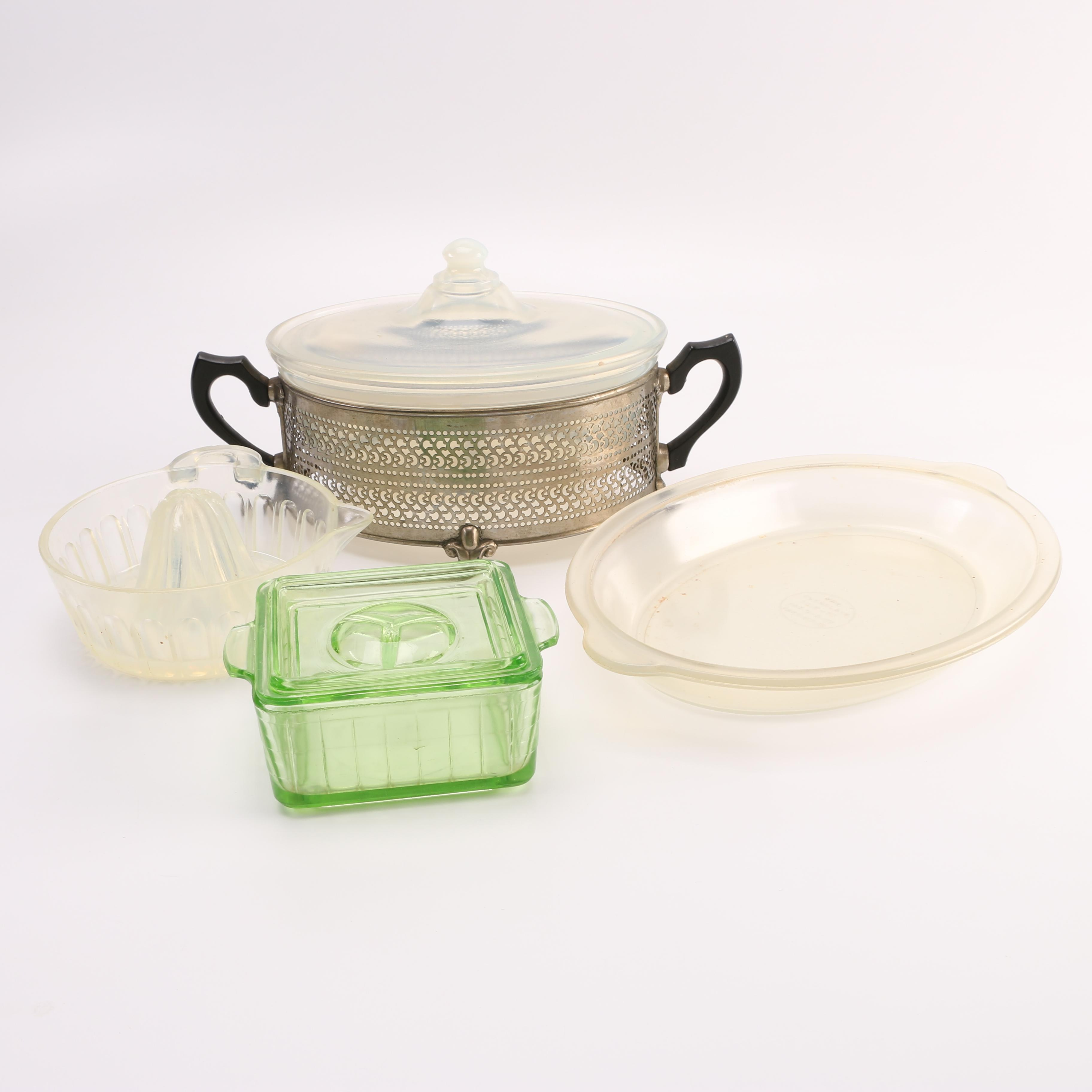 Glass Cookware Including Vintage Fry Pearl Ovenglass