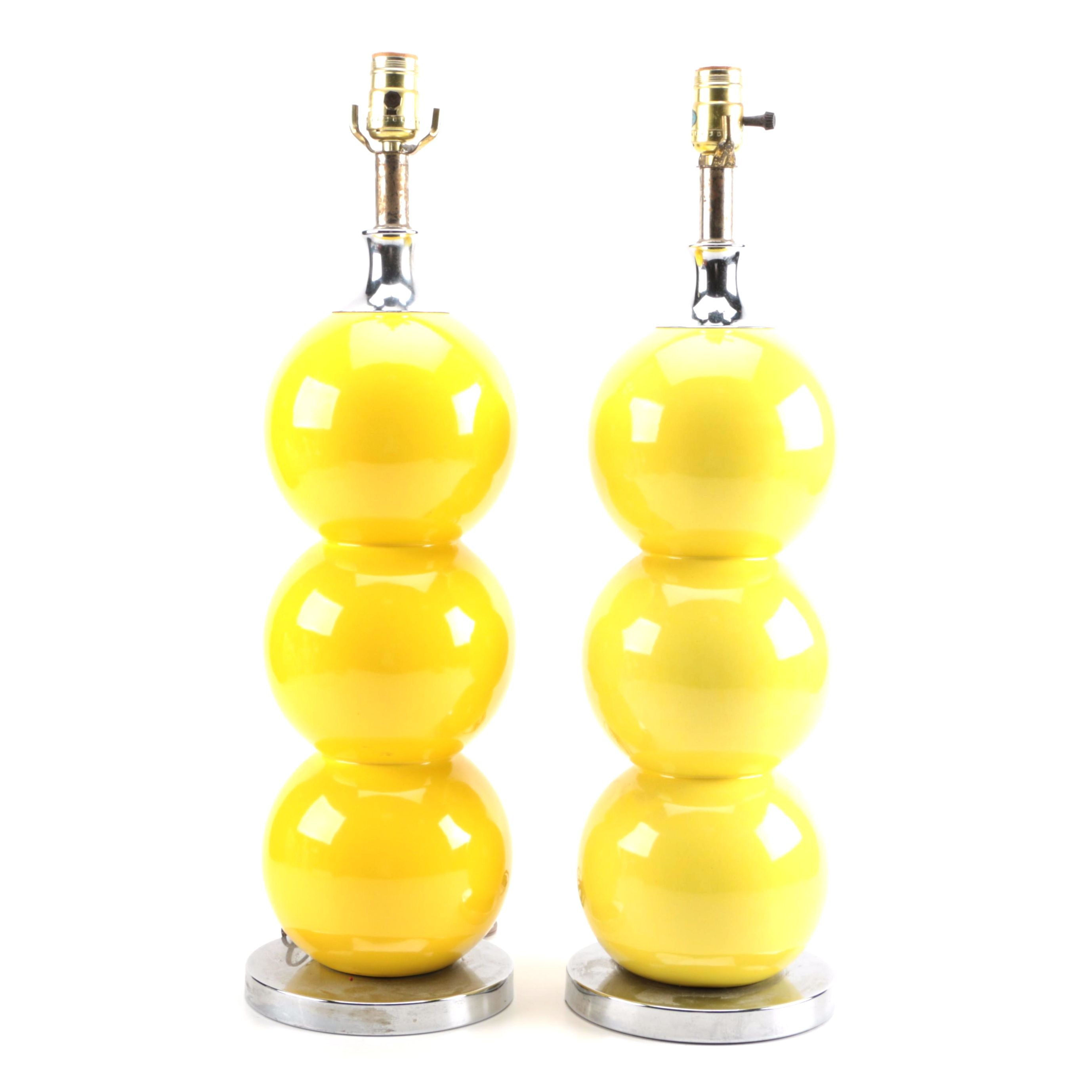 Mid Century Modern Yellow Ball Table Lamps