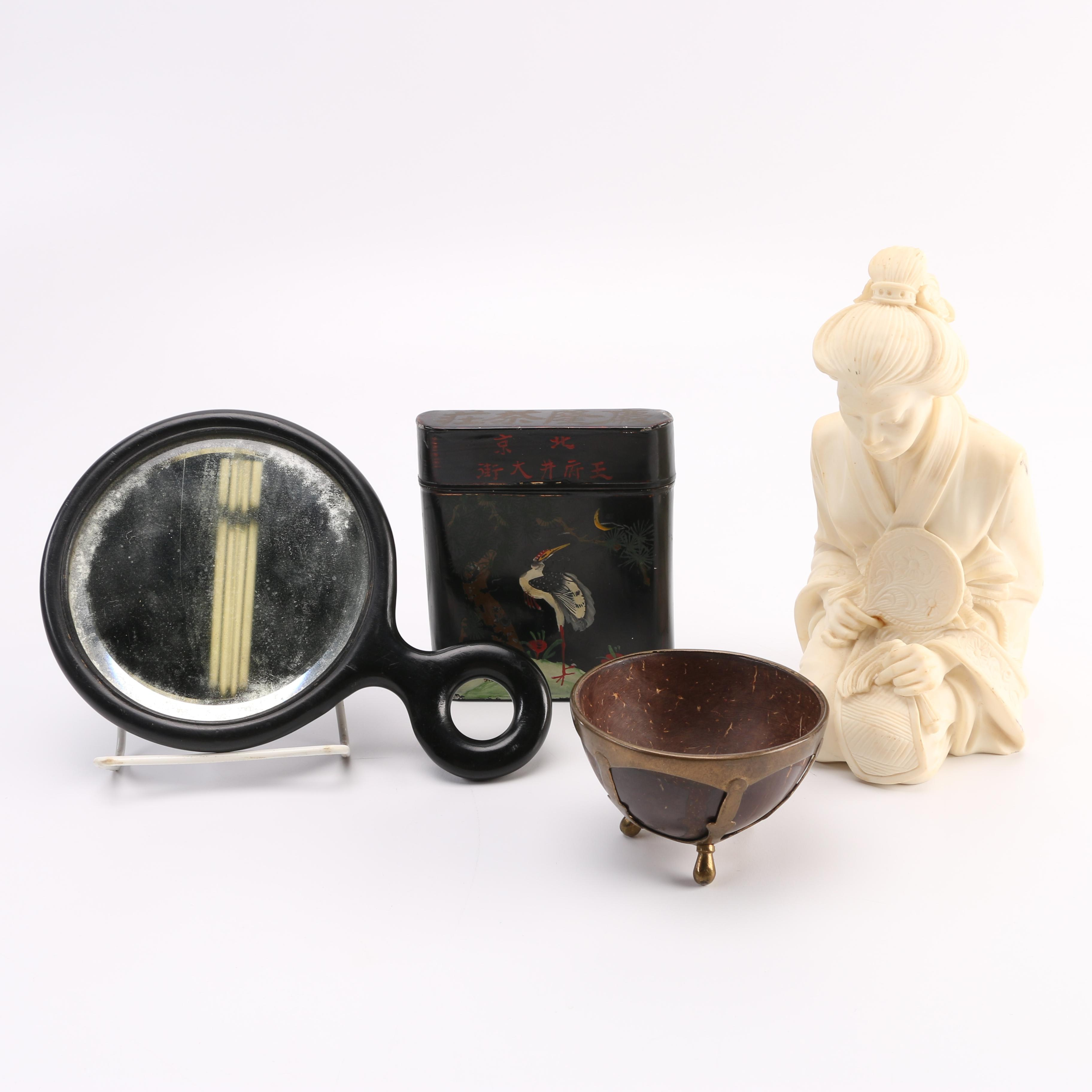 A. Giommelli Japanese Woman Figurine and Other Asian Style Objects