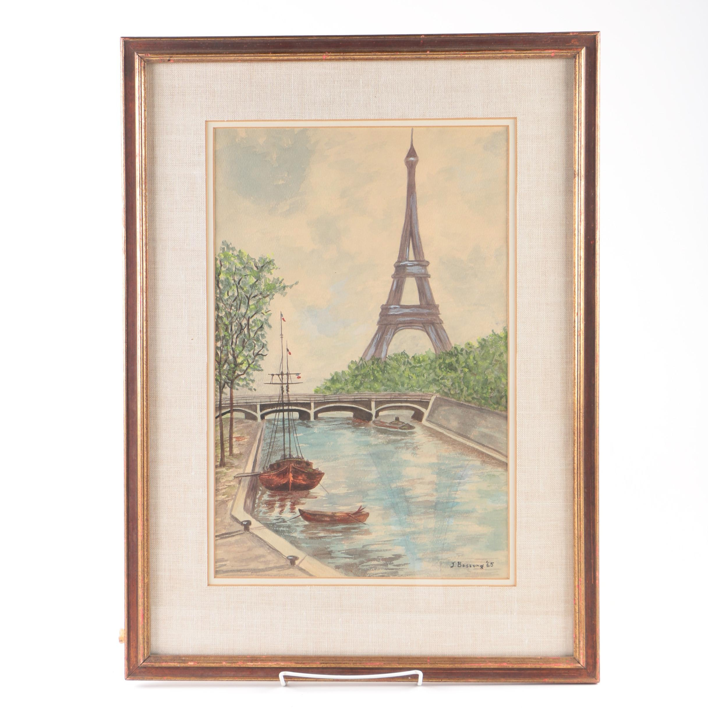 J. Bossong Watercolor Painting of the Eiffel Tower