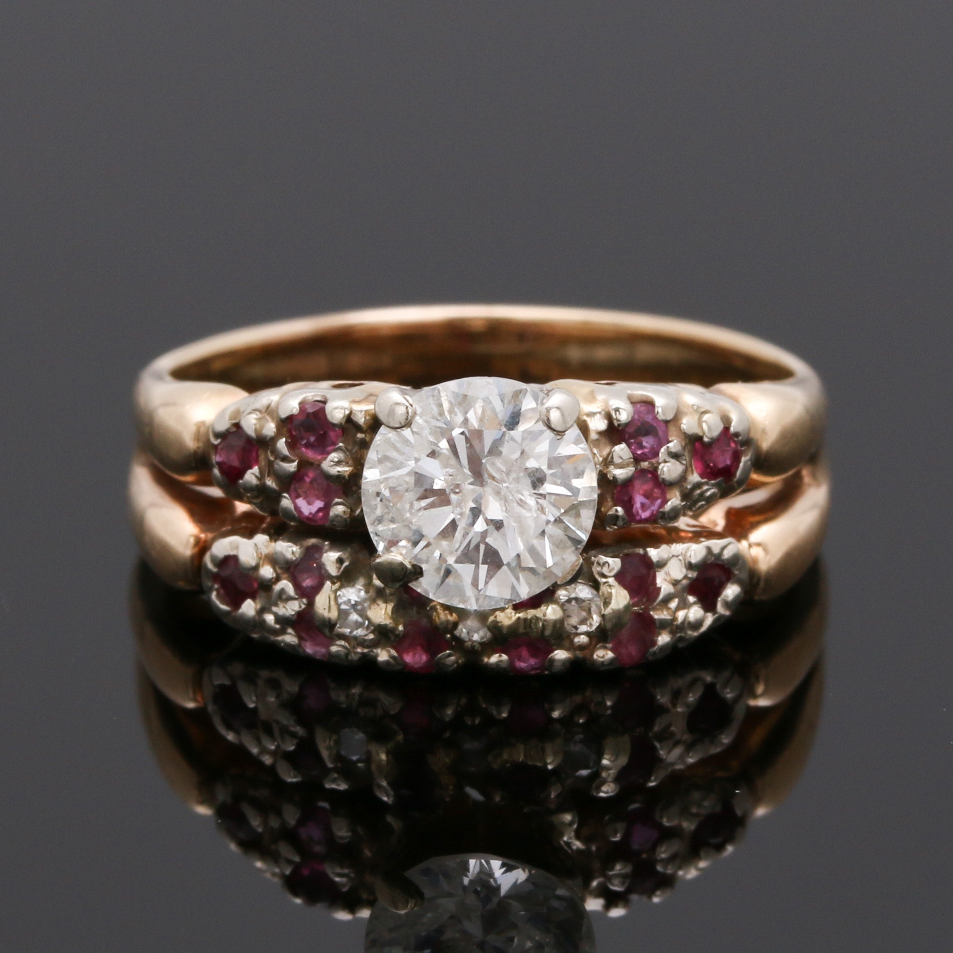14K Yellow Gold 1.03 CTW Diamond and Ruby Ring
