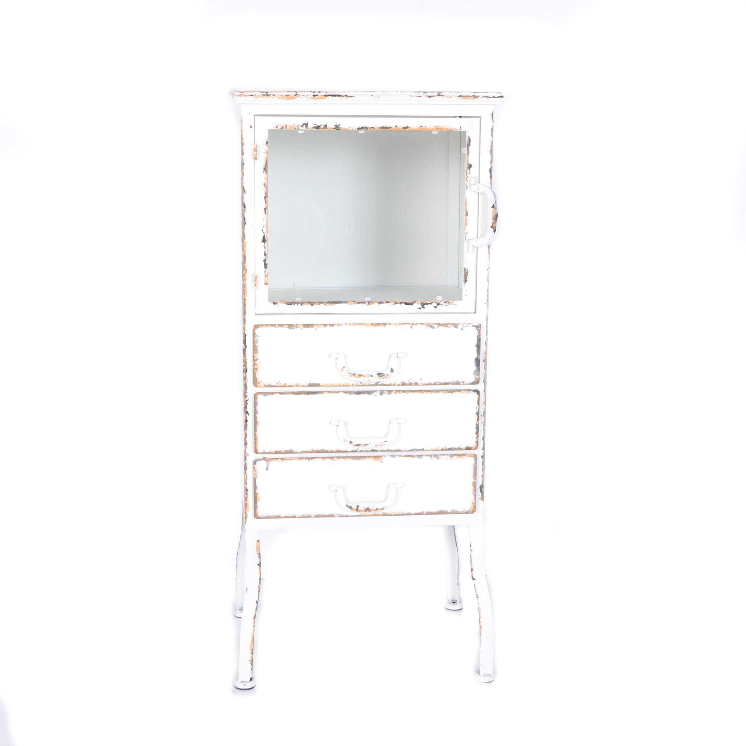Distressed White Metal Dentist's Style Cabinet