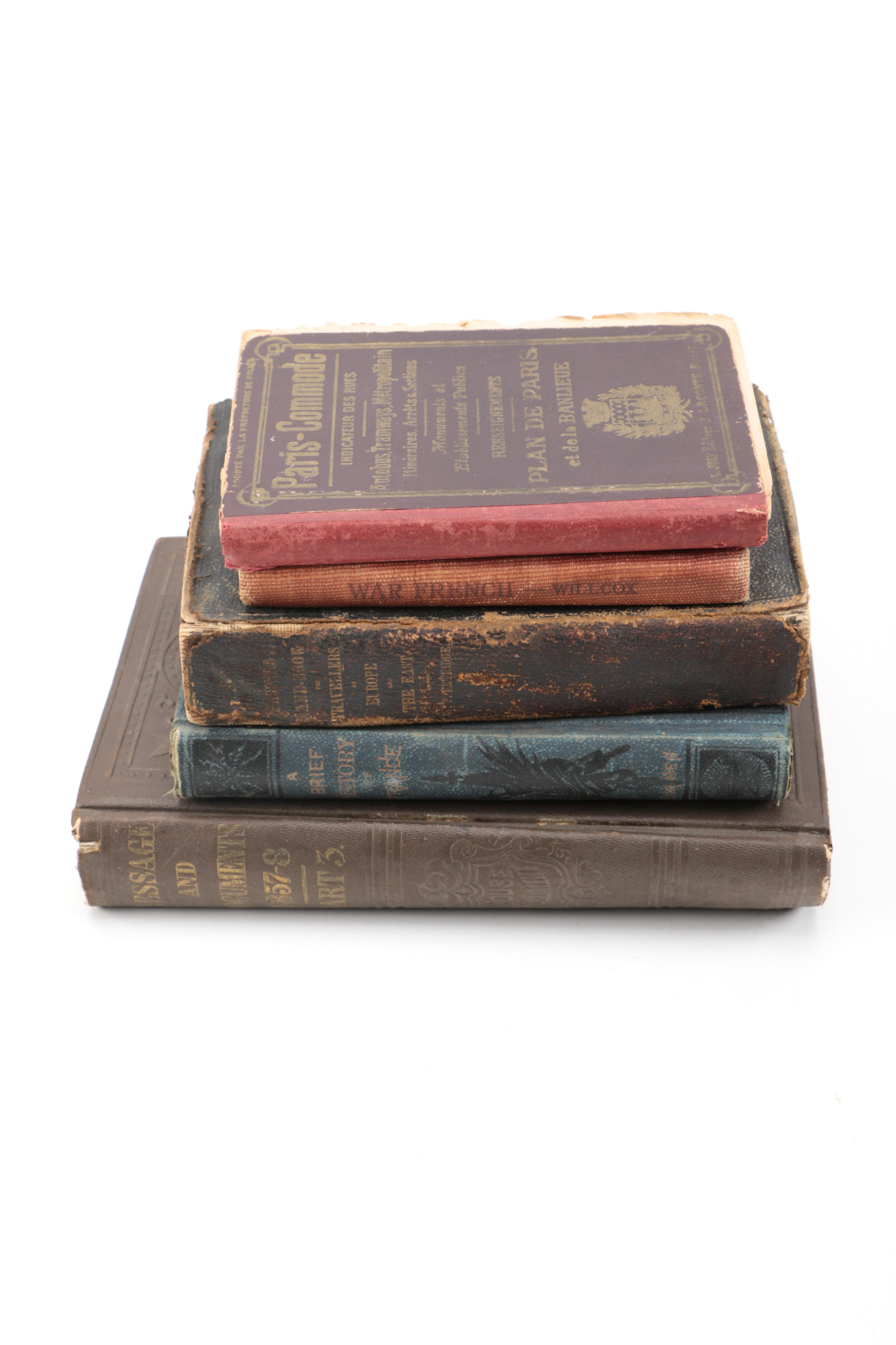 """Vintage and Antique Books Including 1865 """"Harper's Hand-Book for Travelers in Europe"""""""