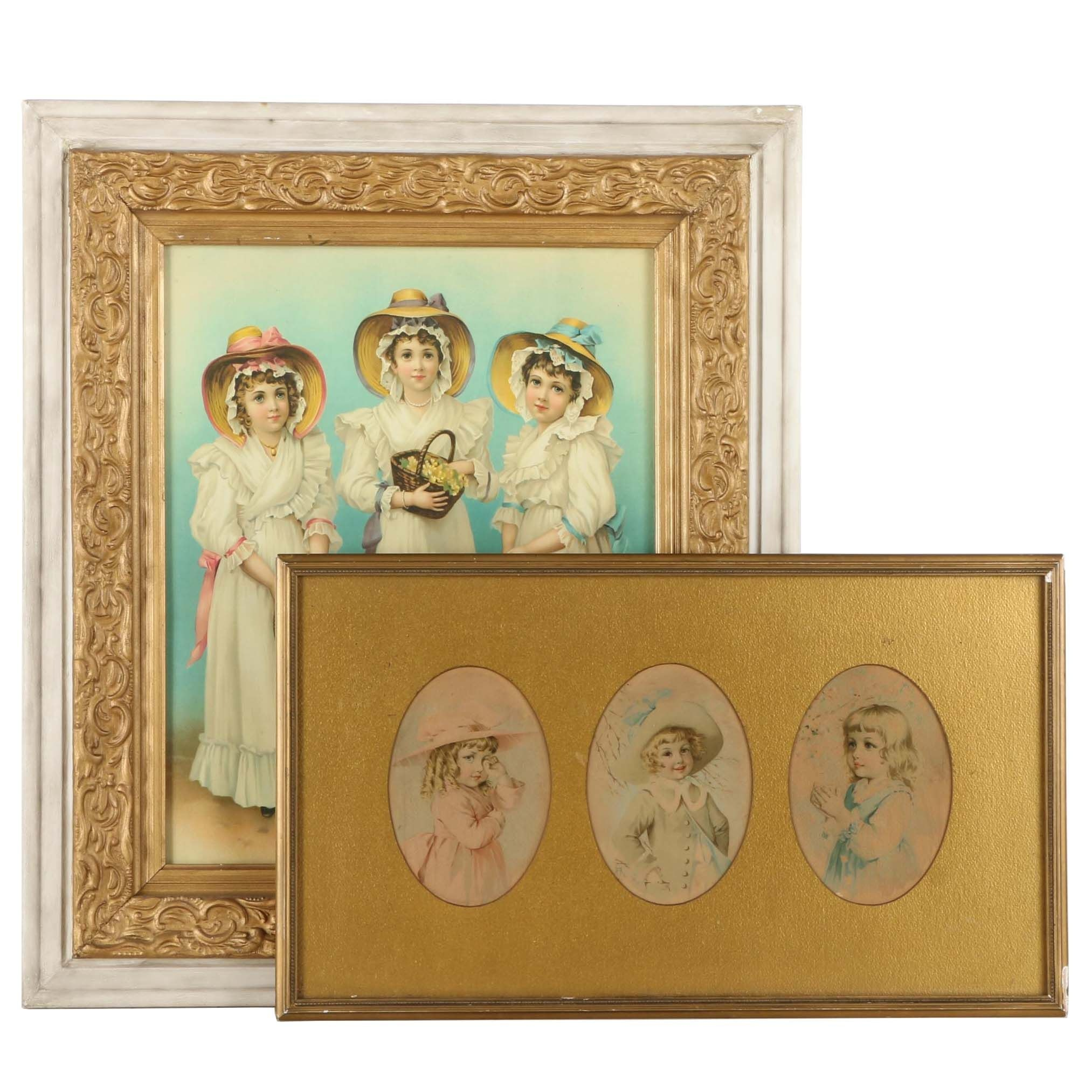 After Maud Humphrey Vintage Color Lithograph and Offset Lithograph Prints on Paper of Victorian Girls