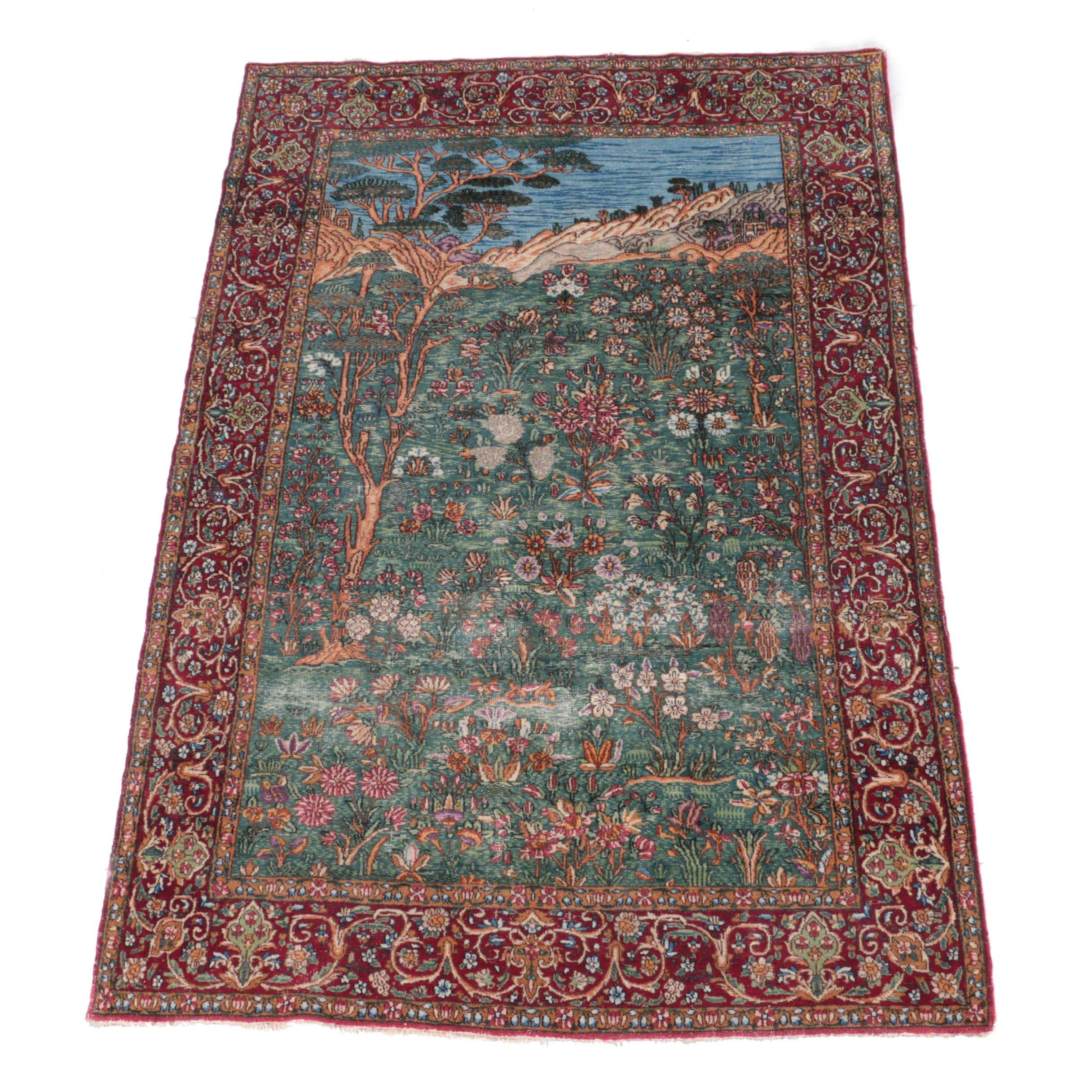 Semi-Antique Hand-Knotted Persian Pictorial Area Rug