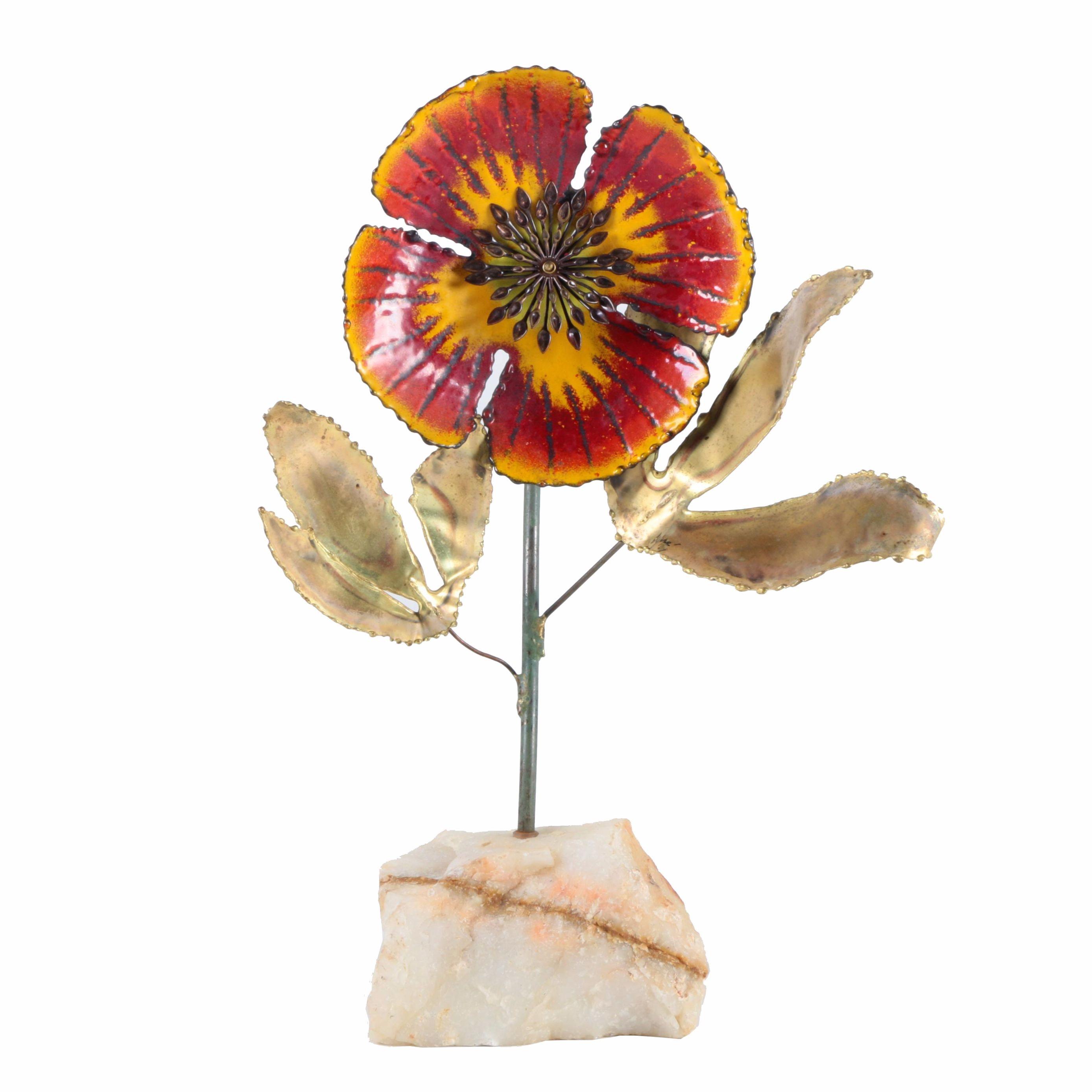 Curtis Jeré 1960s Brass and Enamel Flower Sculpture