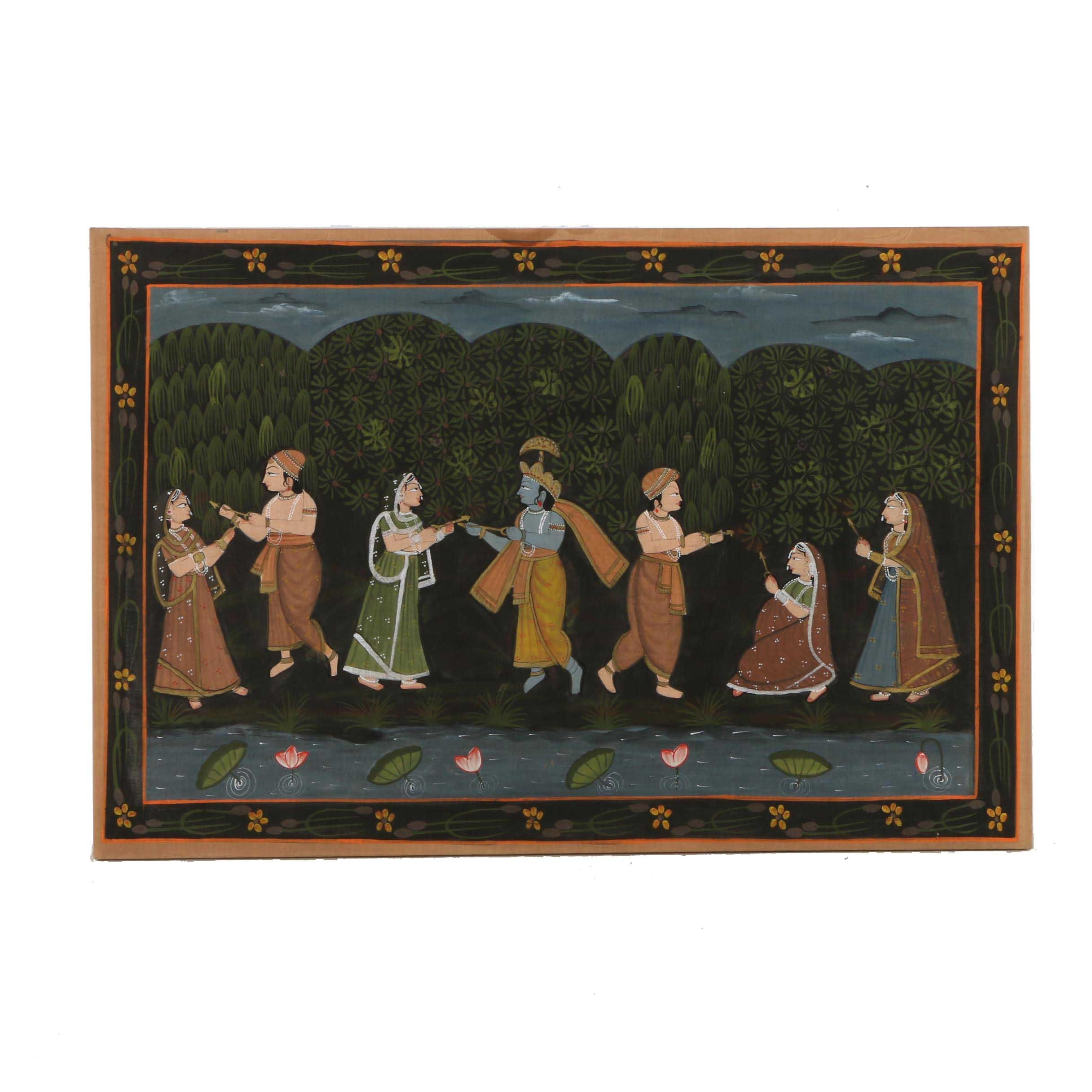 Indian Gouache Painting on Linen of Krishna and Figures