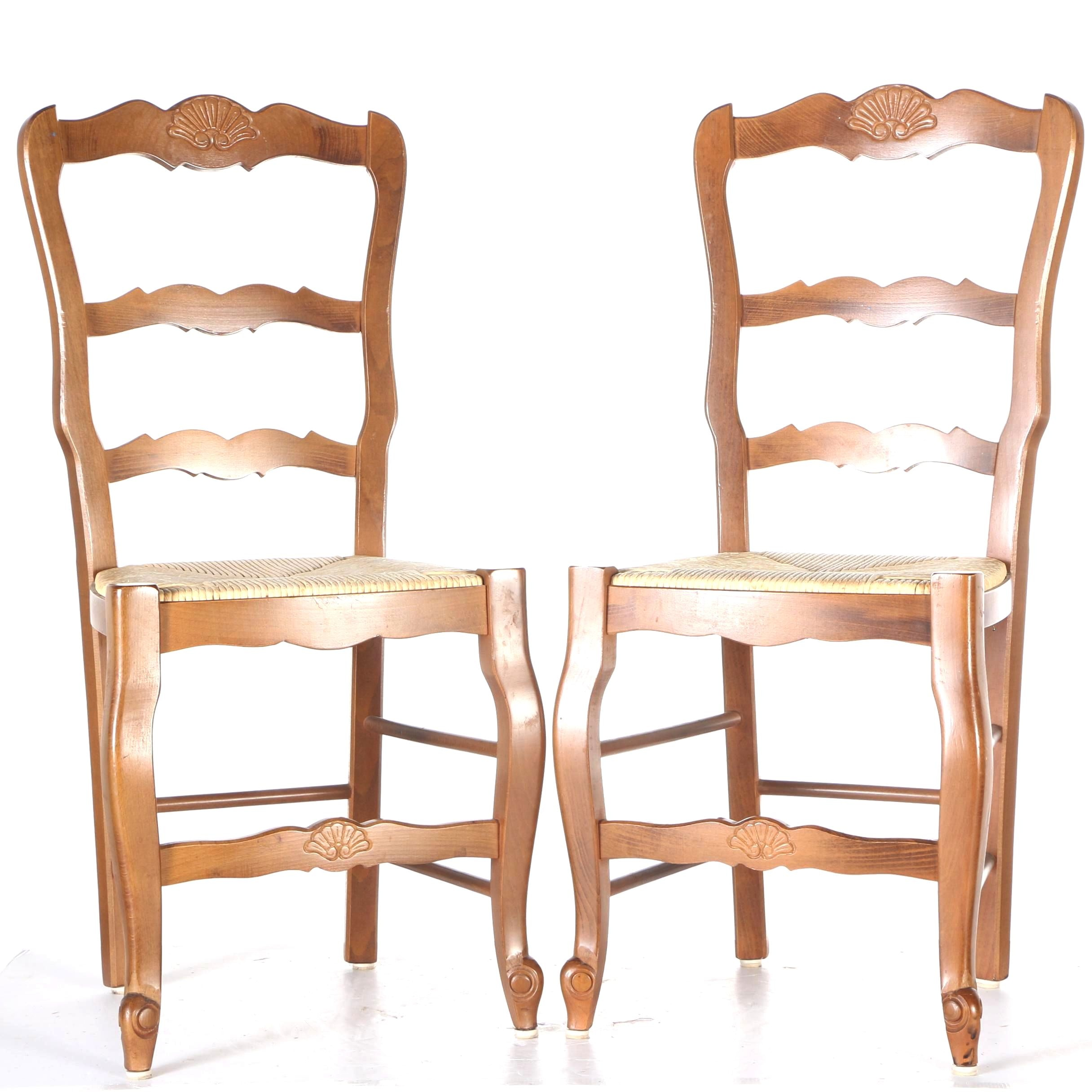 Pair of Carved Side Chairs with Detachable Rush Seats