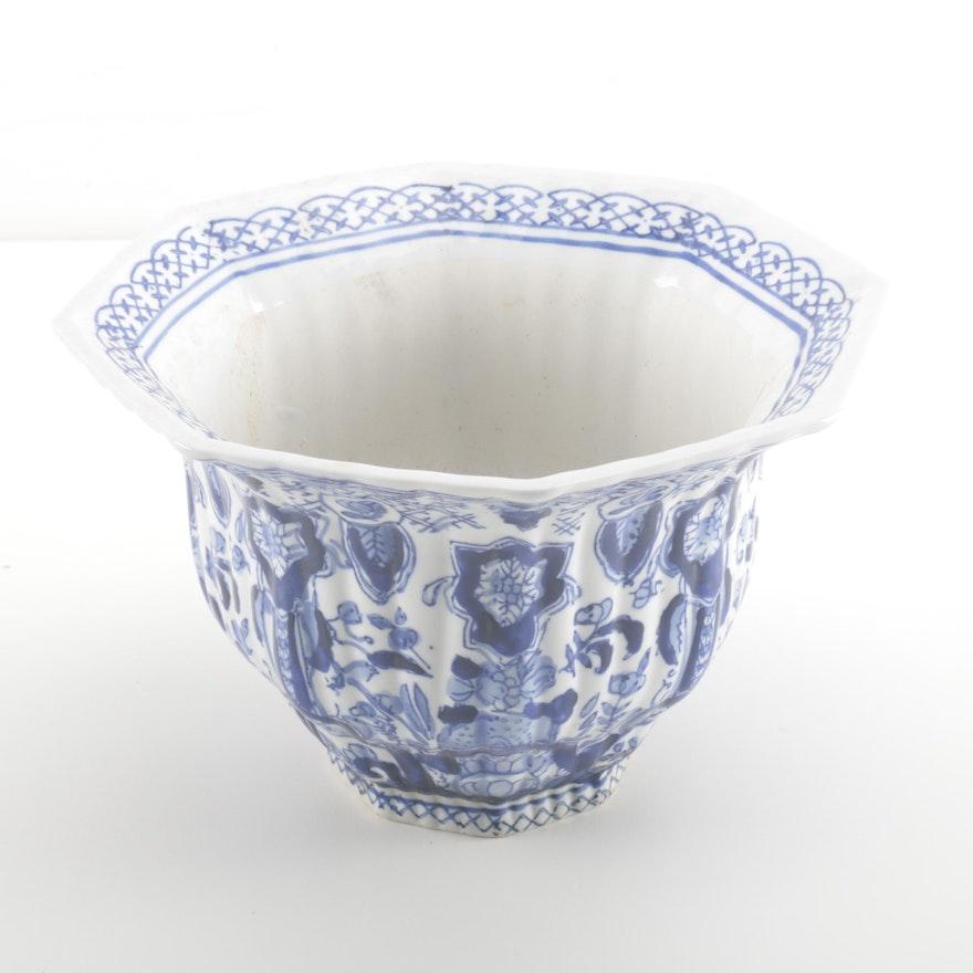 Chinese White and Blue Ceramic Planter