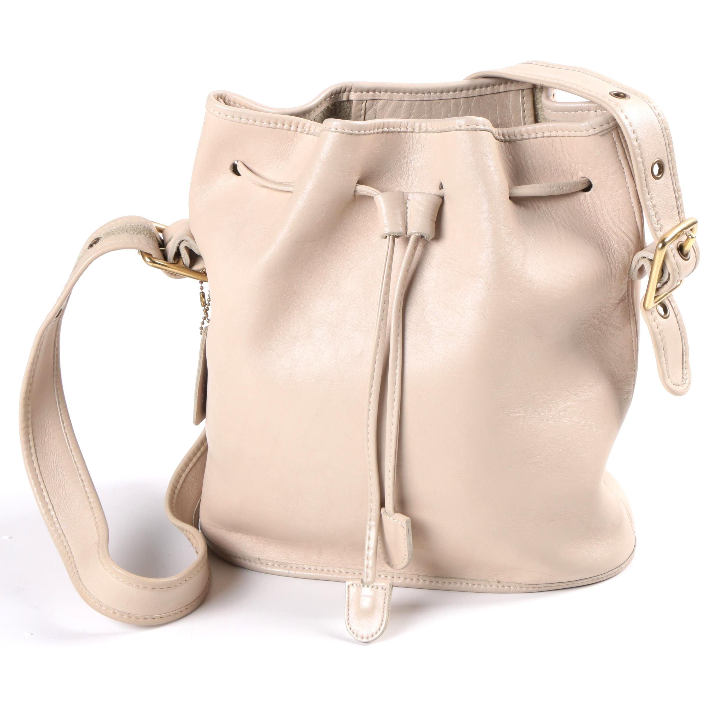 Coach Cream Leather Drawstring Bucket Bag