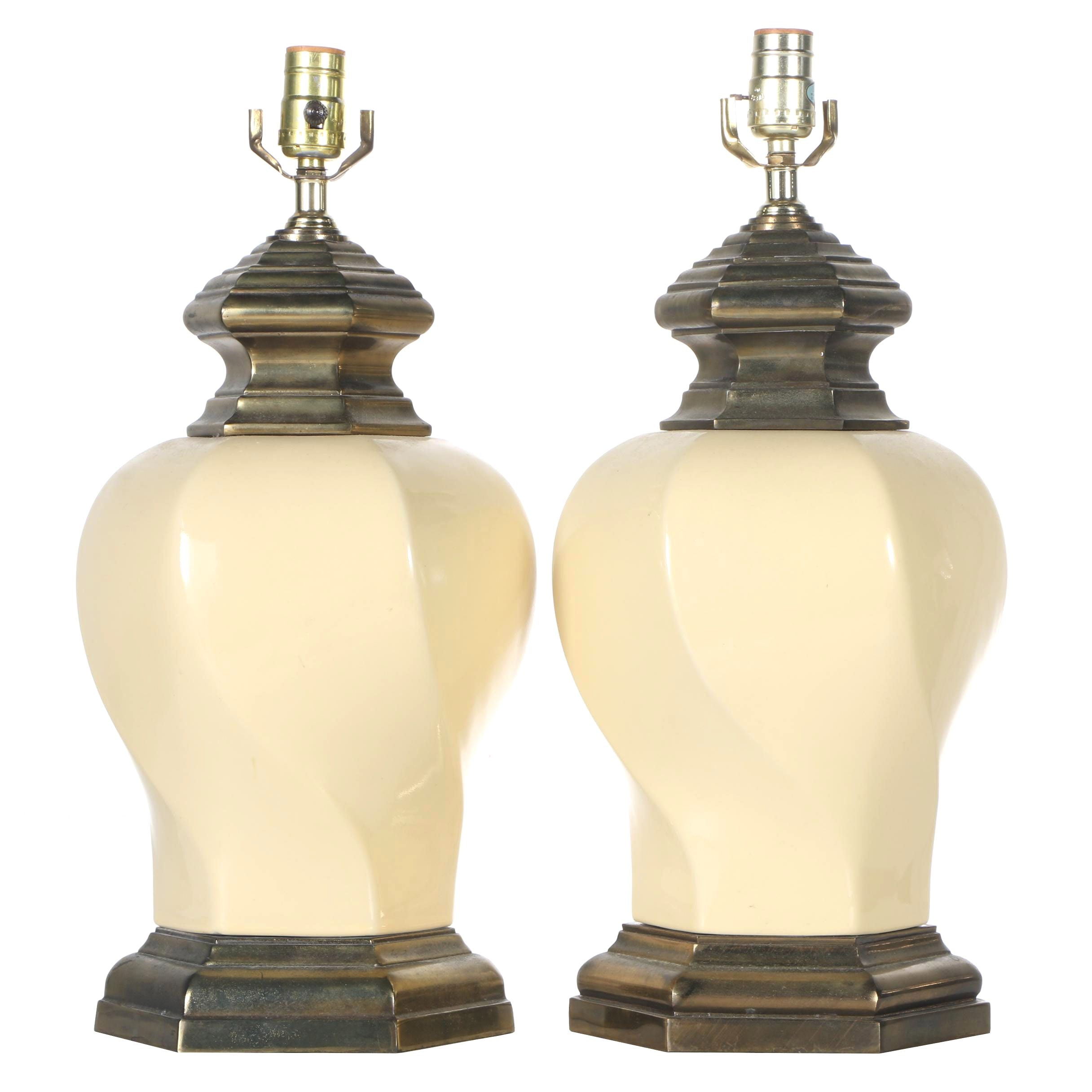 Cream and Gold Colored Lamps