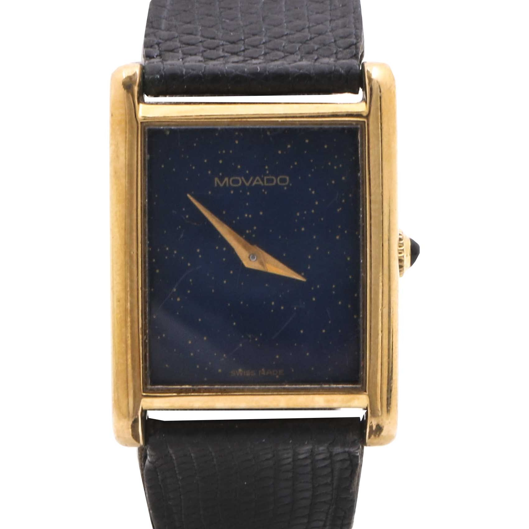 Movado Gold Plate and Black Leather Wristwatch