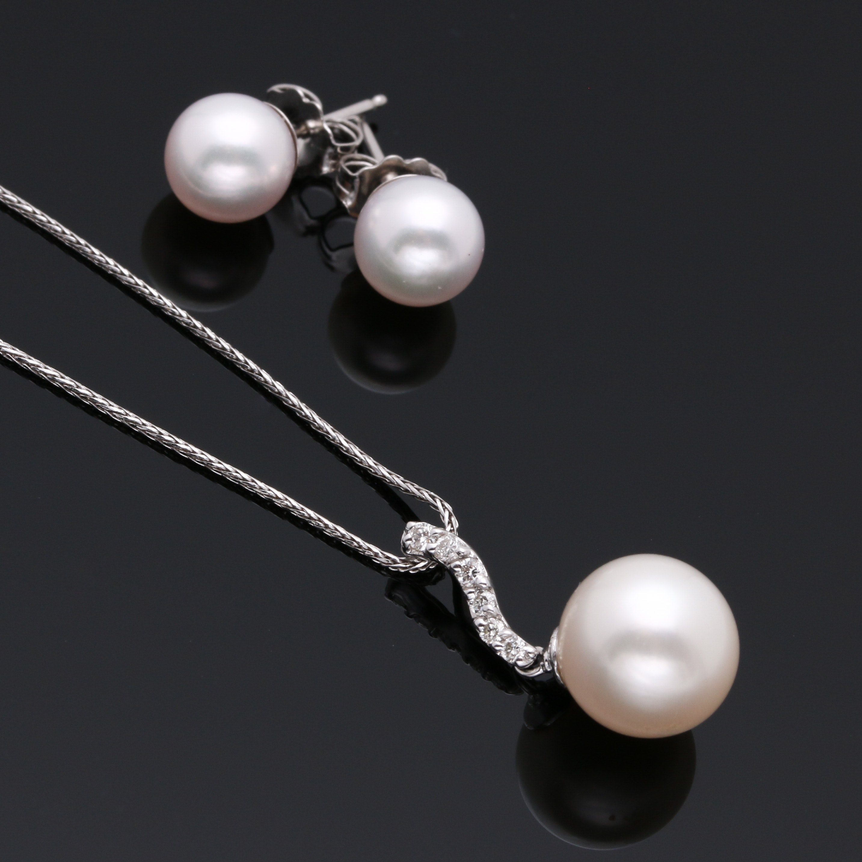 14K & 18K White Gold Cultured Pearl and Diamond Demi Parure