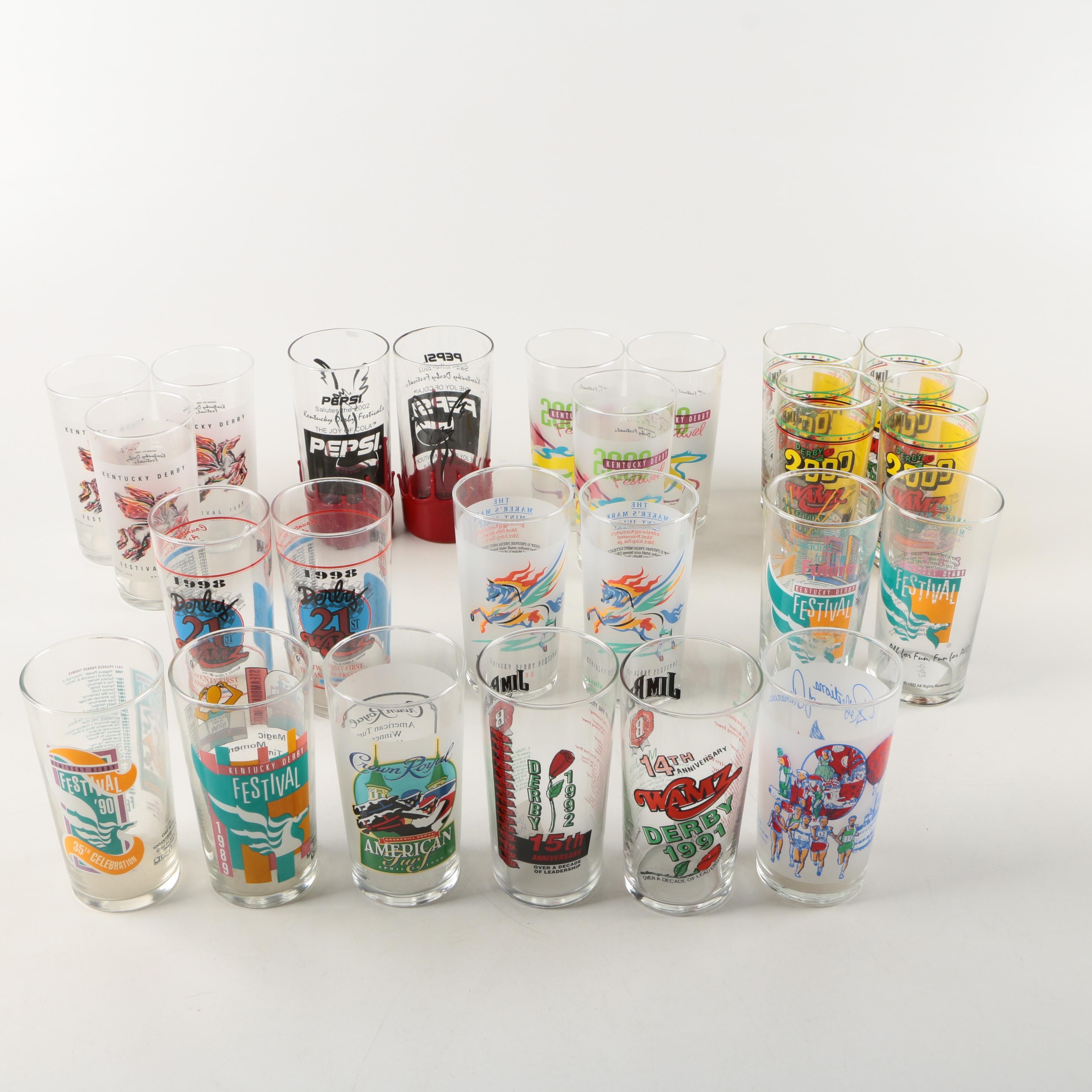 Assortment of Kentucky Derby Glasses