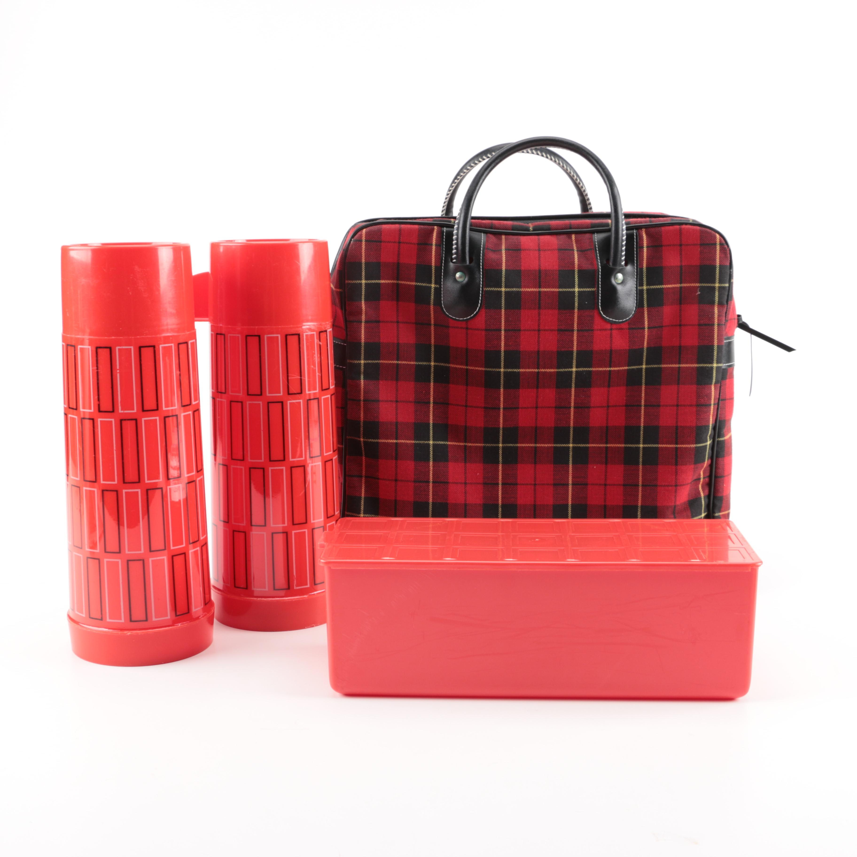 Black and Red Plaid Lunch Bag and Accessories
