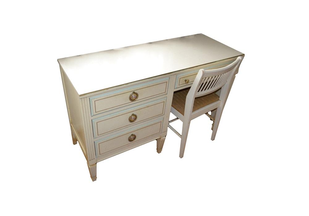Cream-Painted Desk With Fragonard Style Pulls