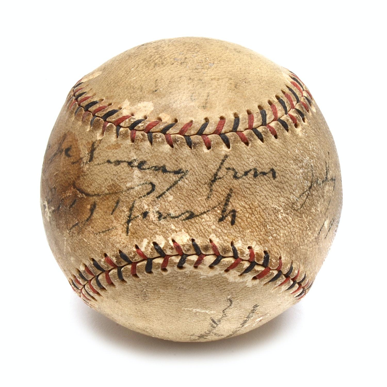 Edd Roush Signed 1926 National League Baseball  COA