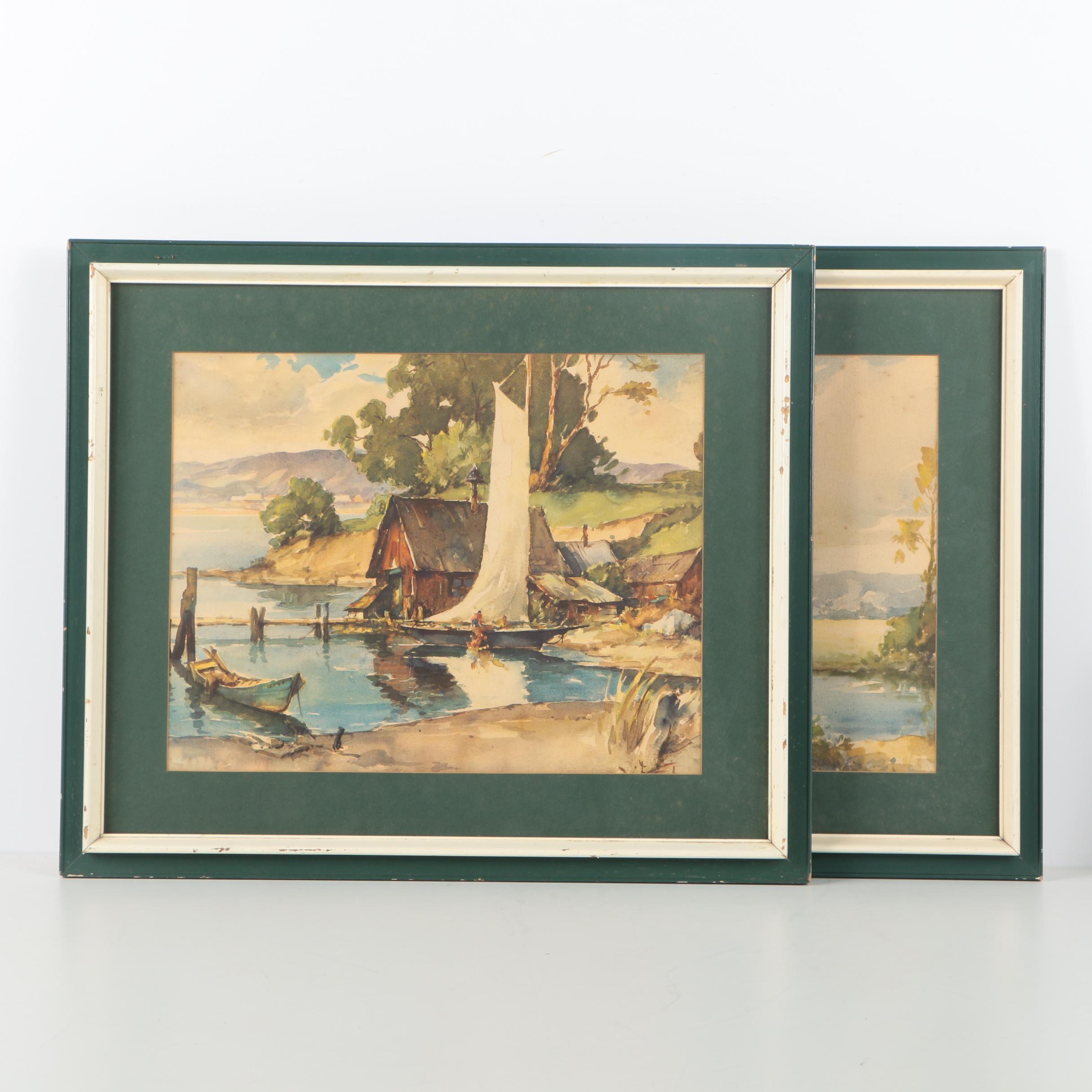 After Davis F. Schwartz Offset Lithographs of Landscapes