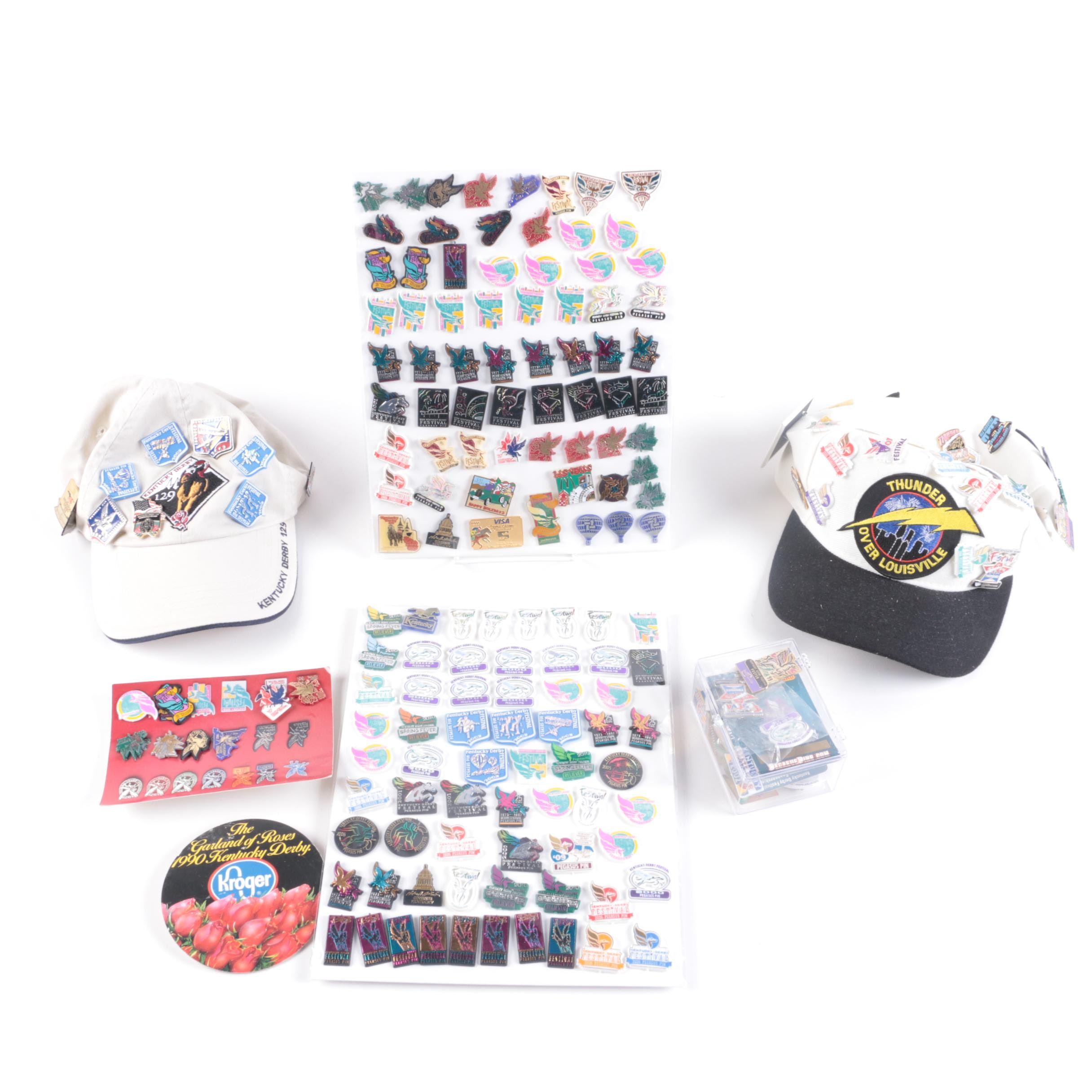 Collection of Kentucky Derby Caps and Lapel Pins