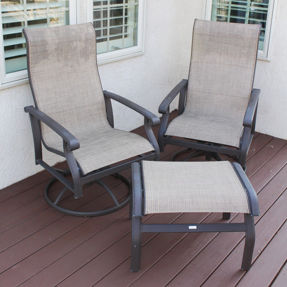 Two Winston Patio Chairs with Ottoman