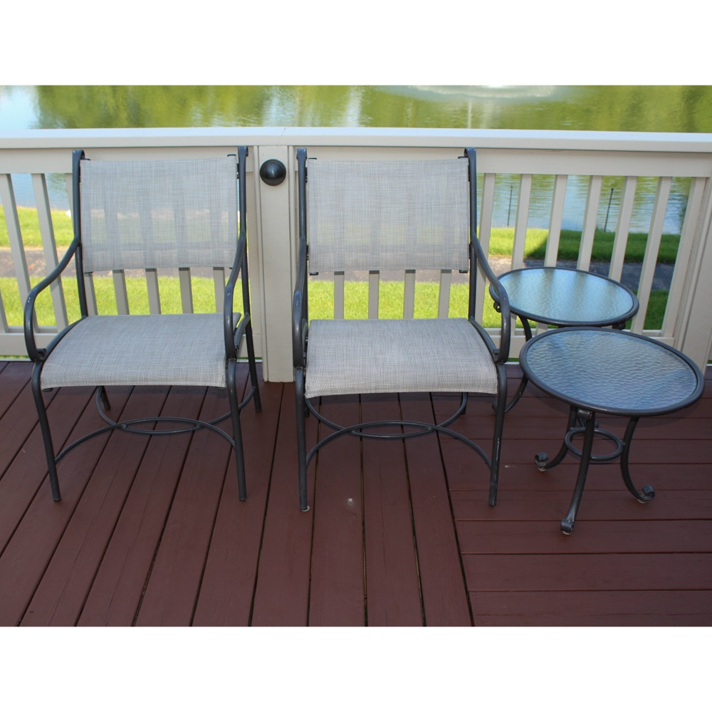 Two Metal Patio Chairs with Accent Tables by Brown Jordan