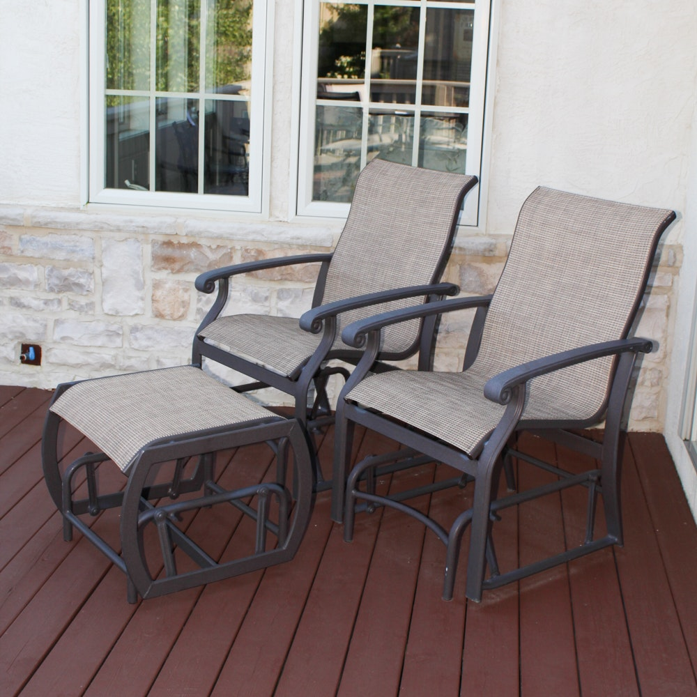 Two Winston Glider Rocking Patio Chairs with Ottoman