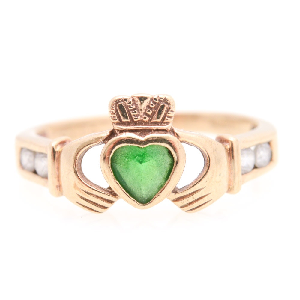 9K Yellow Gold Claddagh Synthetic Emerald and Cubic Zirconia RIng