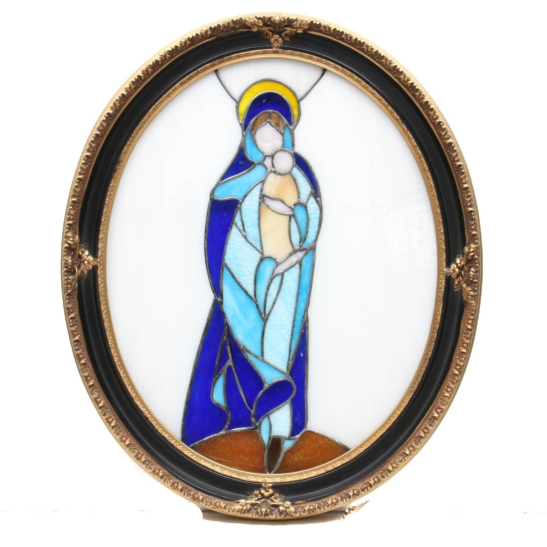 Stained Glass Panel of the Virgin Mary