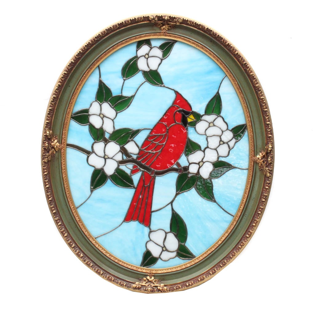 Hand Crafted Stained Glass Cardinal Artwork