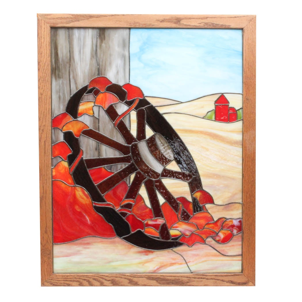 Wagon Wheel Stained Glass Artwork