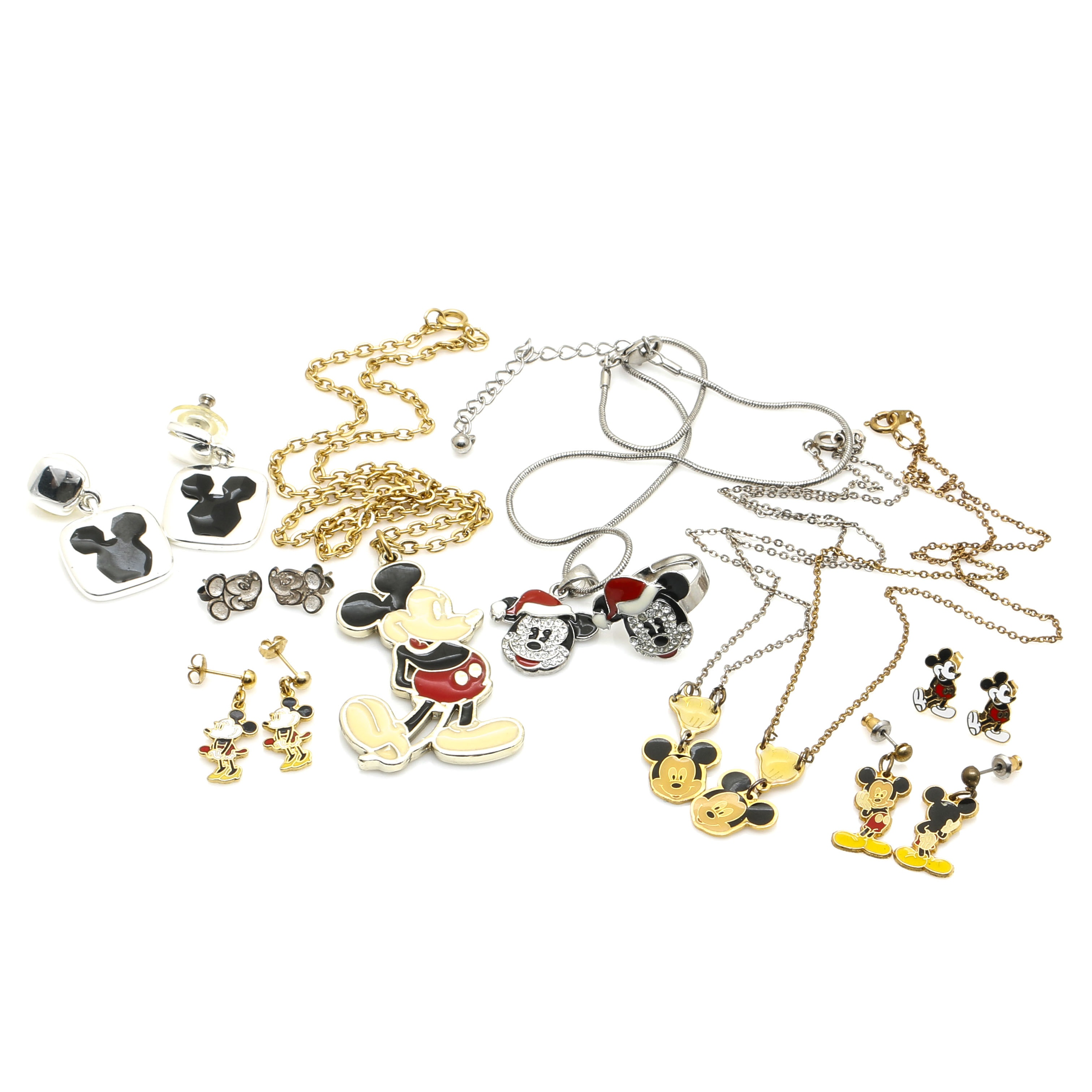 Mickey and Minnie Mouse Jewelry With Rhinestones and Enameling