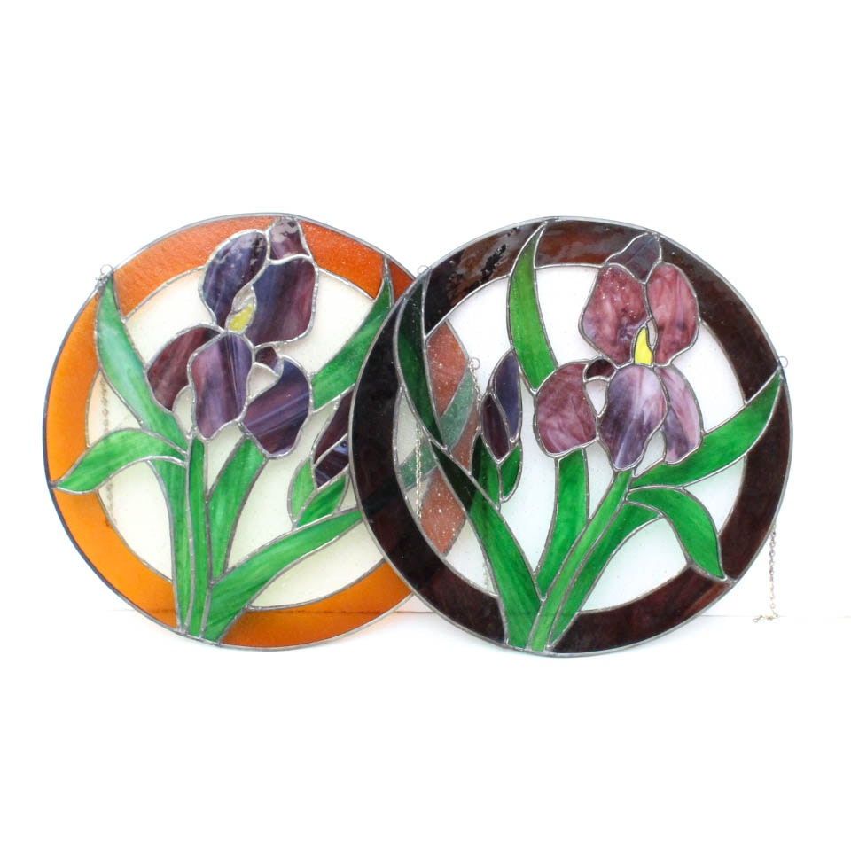 Floral Stained Glass Hanging Panels