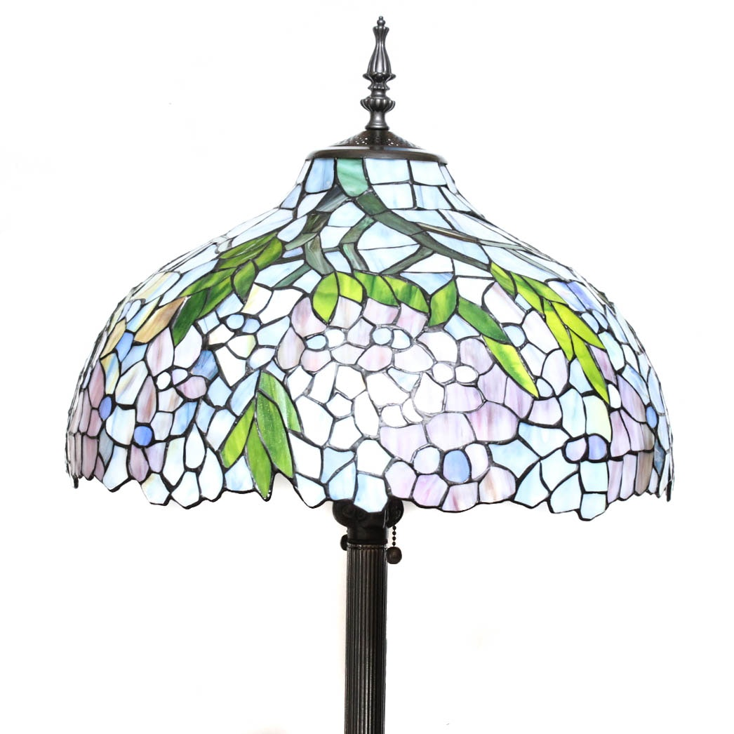 Tiffany Style Stained Glass and Bronze Floor Lamp