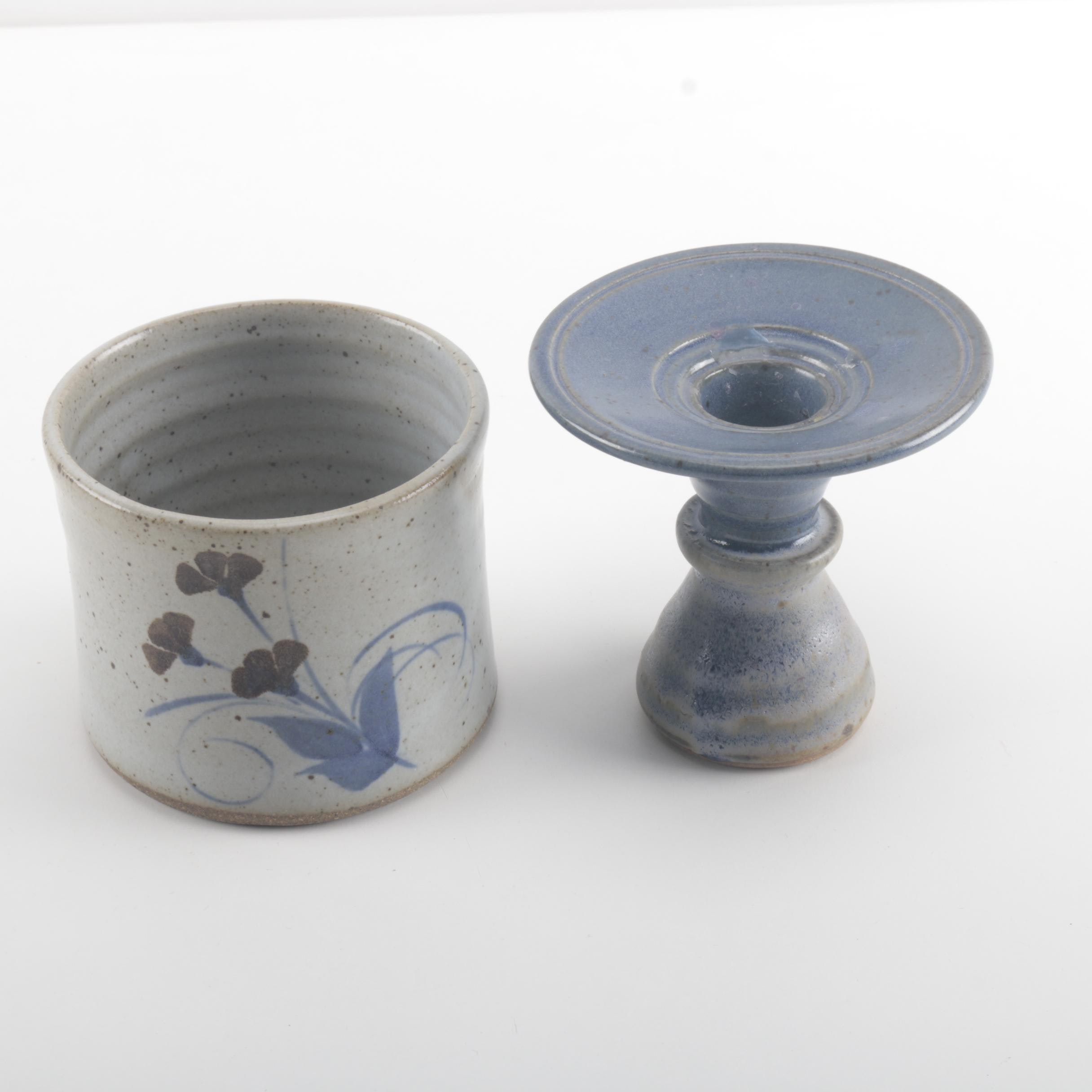 Hand Thrown Studio Stoneware Candlestick and Jar