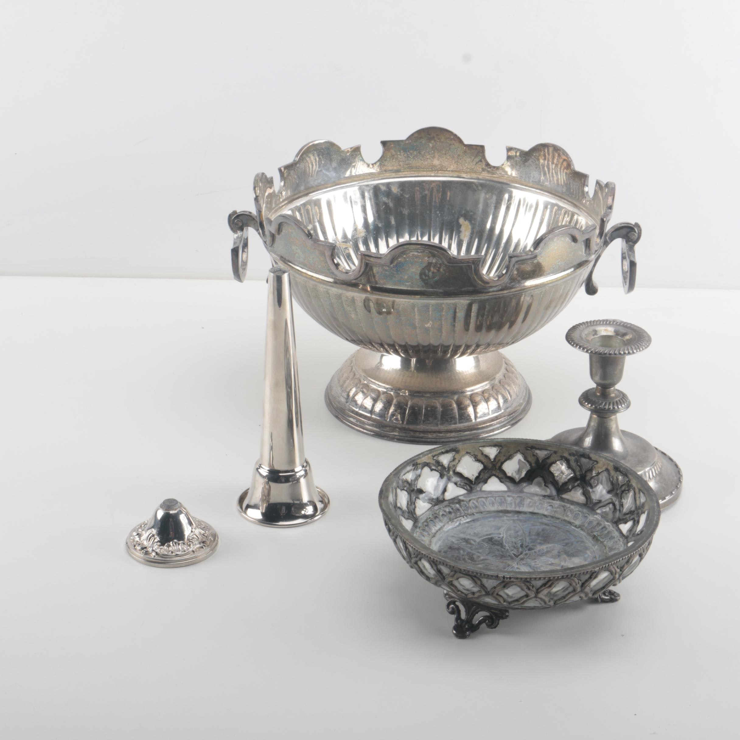 Plated Silver Bowls and a Candlestick
